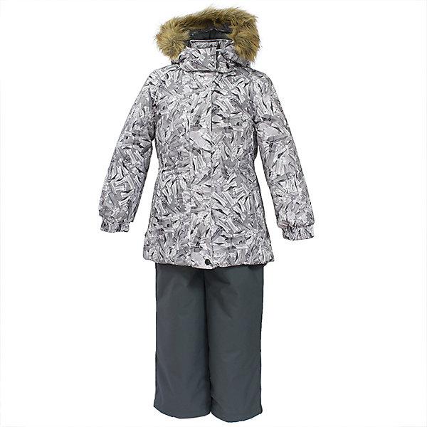 Комплект: куртка и брюки RENELY 1 Huppa для девочкиВерхняя одежда<br>Характеристики товара:<br><br>• модель: Renely 1;<br>• цвет: белый/ серый;<br>• пол: девочка ;<br>• состав: 100% полиэстер;<br>• утеплитель: нового поколения HuppaTherm,300/160гр;<br>• подкладка: полиэстер: тафта, pritex;<br>• сезон: зима;<br>• температурный режим: от -5 до - 30С;<br>• водонепроницаемость: куртка 5000 мм / брюки 10000 мм ;<br>• воздухопроницаемость: куртка 5000 / брюки 10000 г/м2/24 ч;<br>• влагоустойчивая и дышащая ткань верхнего слоя изделия;<br>• особенности модели: c рисунком; с мехом;<br>• плечевые швы и шаговый шов проклеены водостойкой лентой, для дополнительной защиты от протекания;<br>• мембрана препятствует прохождению воды и ветра сквозь ткань внутрь изделия, позволяя испаряться выделяемой телом, образовывающейся внутри влаге;<br>• в куртке застежка молния, прикрыта планкой;<br>• модель приталенная, сзади встроена резинка в области талии;<br>• воротник стойка и дополнительная липучка на капюшоне хорошо закрывают область шеи;<br>• низ куртки стягивается кулиской, что помогает предотвращать попадание снега внутрь;<br>• эластичные подтяжки регулируются по длине;<br>• форма брючин прямая, внутри дополнительная штанина на резинке, предотвращает попадание снега внутрь;<br>• низ брюк затягивается на шнурок с фиксатором;<br>• капюшон при необходимости отстегивается;<br>• искусственный мех на капюшоне съемный ;<br>• светоотражающих элементов для безопасности ребенка ;<br>• все карманы застегиваются на молнию;<br>• манжеты рукавов на резинке; <br>• страна бренда: Финляндия;<br>• страна изготовитель: Эстония.<br><br>Зимний комплект Renely для девочки бренда HUPPA  водо воздухонепроницаемый. Мембрана препятствует прохождению воды и ветра сквозь ткань внутрь изделия, позволяя испаряться выделяемой телом, образовывающейся внутри влаге.<br><br>Прочная ткань: сплетения волокон в тканях выполнены по специальной технологии, которая придаёт ткани прочность и предохранят от истирания.Подкла