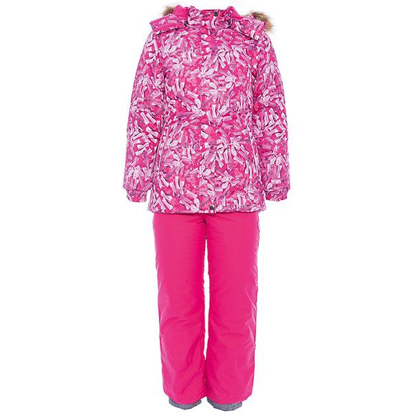 Комплект: куртка и брюки RENELY 1 Huppa для девочкиКомплекты<br>Характеристики товара:<br><br>• модель: Renely 1;<br>• цвет: фуксия принт/фуксия;<br>• пол: девочка ;<br>• состав: 100% полиэстер;<br>• утеплитель: нового поколения HuppaTherm, 300 гр куртка / 160гр брюки;<br>• подкладка: полиэстер: тафта, pritex;<br>• сезон: зима;<br>• температурный режим: от -5 до - 30С;<br>• водонепроницаемость: куртка 5000 мм / брюки 10000 мм ;<br>• воздухопроницаемость: куртка 5000 / брюки 10000 г/м2/24 ч;<br>• влагоустойчивая и дышащая ткань верхнего слоя изделия;<br>• особенности модели: c рисунком; с мехом;<br>• плечевые швы и шаговый шов проклеены водостойкой лентой, для дополнительной защиты от протекания;<br>• мембрана препятствует прохождению воды и ветра сквозь ткань внутрь изделия, позволяя испаряться выделяемой телом, образовывающейся внутри влаге;<br>• в куртке застежка молния, прикрыта планкой;<br>• модель приталенная, сзади встроена резинка в области талии;<br>• воротник стойка и дополнительная липучка на капюшоне хорошо закрывают область шеи;<br>• низ куртки стягивается кулиской, что помогает предотвращать попадание снега внутрь;<br>• эластичные подтяжки регулируются по длине;<br>• форма брючин прямая, внутри дополнительная штанина на резинке, предотвращает попадание снега внутрь;<br>• низ брюк затягивается на шнурок с фиксатором;<br>• капюшон при необходимости отстегивается;<br>• искусственный мех на капюшоне съемный ;<br>• светоотражающих элементов для безопасности ребенка ;<br>• все карманы застегиваются на молнию;<br>• манжеты рукавов на резинке; <br>• страна бренда: Финляндия;<br>• страна изготовитель: Эстония.<br><br>Зимний комплект Renely для девочки HUPPA  водо- воздухонепроницаемый. Утеплитель HuppaTherm сохраняет объем и высокую теплоизоляцию изделия. Легко стирается и быстро сохнет. Изделия HuppaTherm легкие по весу, комфортные и теплые.<br><br>Мембрана препятствует прохождению воды и ветра сквозь ткань внутрь изделия, позволяя испаряться выделяемой телом, 