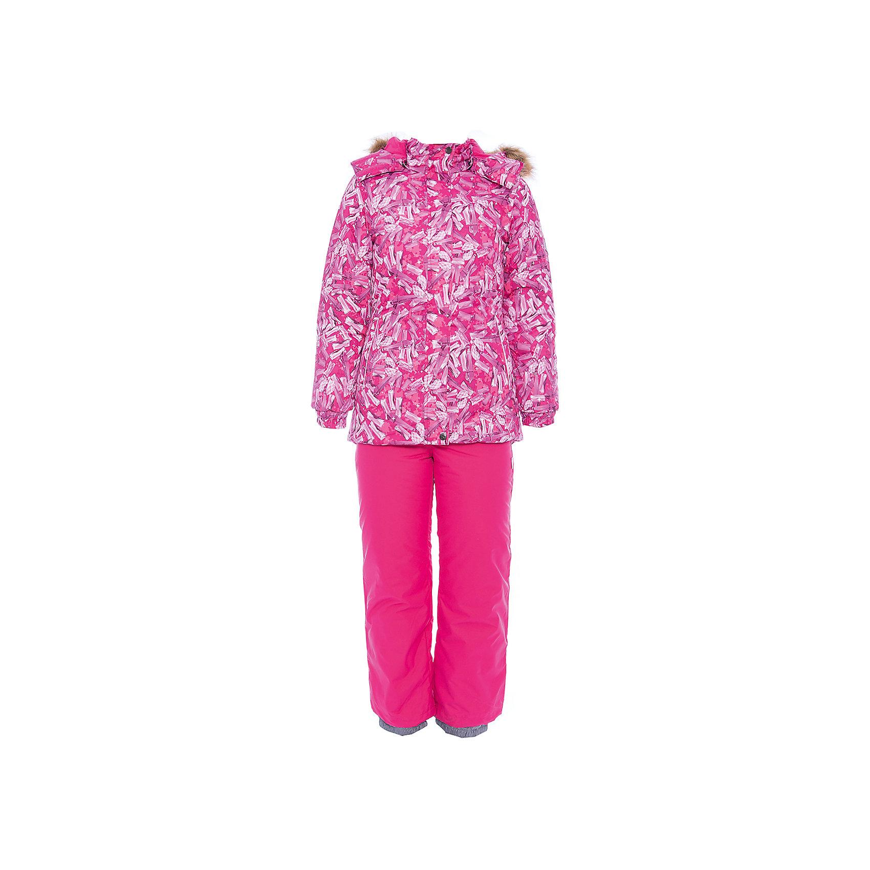 Комплект: куртка и брюки RENELY 1 Huppa для девочкиВерхняя одежда<br>Характеристики товара:<br><br>• модель: Renely 1;<br>• цвет: фуксия принт/фуксия;<br>• пол: девочка ;<br>• состав: 100% полиэстер;<br>• утеплитель: нового поколения HuppaTherm, 300 гр куртка / 160гр брюки;<br>• подкладка: полиэстер: тафта, pritex;<br>• сезон: зима;<br>• температурный режим: от -5 до - 30С;<br>• водонепроницаемость: куртка 5000 мм / брюки 10000 мм ;<br>• воздухопроницаемость: куртка 5000 / брюки 10000 г/м2/24 ч;<br>• влагоустойчивая и дышащая ткань верхнего слоя изделия;<br>• особенности модели: c рисунком; с мехом;<br>• плечевые швы и шаговый шов проклеены водостойкой лентой, для дополнительной защиты от протекания;<br>• мембрана препятствует прохождению воды и ветра сквозь ткань внутрь изделия, позволяя испаряться выделяемой телом, образовывающейся внутри влаге;<br>• в куртке застежка молния, прикрыта планкой;<br>• модель приталенная, сзади встроена резинка в области талии;<br>• воротник стойка и дополнительная липучка на капюшоне хорошо закрывают область шеи;<br>• низ куртки стягивается кулиской, что помогает предотвращать попадание снега внутрь;<br>• эластичные подтяжки регулируются по длине;<br>• форма брючин прямая, внутри дополнительная штанина на резинке, предотвращает попадание снега внутрь;<br>• низ брюк затягивается на шнурок с фиксатором;<br>• капюшон при необходимости отстегивается;<br>• искусственный мех на капюшоне съемный ;<br>• светоотражающих элементов для безопасности ребенка ;<br>• все карманы застегиваются на молнию;<br>• манжеты рукавов на резинке; <br>• страна бренда: Финляндия;<br>• страна изготовитель: Эстония.<br><br>Зимний комплект Renely для девочки HUPPA  водо- воздухонепроницаемый. Утеплитель HuppaTherm сохраняет объем и высокую теплоизоляцию изделия. Легко стирается и быстро сохнет. Изделия HuppaTherm легкие по весу, комфортные и теплые.<br><br>Мембрана препятствует прохождению воды и ветра сквозь ткань внутрь изделия, позволяя испаряться выделяемой те