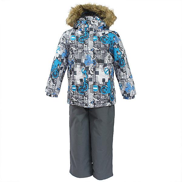 Комплект: куртка и брюки DANTE 1 Huppa для мальчикаКомплекты<br>Характеристики товара:<br><br>• модель: Dante 1;<br>• цвет: белый принт/серый;<br>• состав: 100% полиэстер;<br>• утеплитель: нового поколения HuppaTherm, 300 гр куртка / 160гр полукомбинезон;<br>• подкладка: полиэстер: тафта, pritex;<br>• сезон: зима;<br>• температурный режим: от -5 до - 30С;<br>• водонепроницаемость: 10000 мм  ;<br>• воздухопроницаемость: 10000 г/м2/24ч;<br>• особенности модели: c рисунком; с мехом на капюшоне;<br>• плечевые швы и шаговый шов проклеены и не пропускают влагу;<br>• в куртке застежка молния, прикрыта планкой;<br>• низ куртки стягивается кулиской, что помогает предотвращать попадание снега внутрь;<br>• в полукомбинезоне застежка молния;<br>• эластичные подтяжки регулируются по длине;<br>• низ брюк затягивается на шнурок с фиксатором;<br>• снегозащитные манжеты на штанинах;<br>• безопасный капюшон крепится на кнопки и, при необходимости, отстегивается;<br>• искусственный мех на капюшоне съемный;<br>• светоотражающие элементы для безопасности ребенка ;<br>• внутренний и боковые карманы застегиваются на молнию;<br>• манжеты рукавов эластичные, на резинках; <br>• страна бренда: Финляндия;<br>• страна изготовитель: Эстония.<br><br>Зимний комплект Dante 1 - это отличный вариант для холодной зимы. Утеплитель HuppaTherm - высокотехнологичный легкий синтетический утеплитель нового поколения. Сохраняет объем и высокую теплоизоляцию изделия. Легко стирается и быстро сохнет.Изделия HuppaTherm легкие по весу, комфортные и теплые.<br><br>Мембрана препятствует прохождению воды и ветра сквозь ткань внутрь изделия, позволяя испаряться выделяемой телом, образовывающейся внутри влаге. Прочная ткань: сплетения волокон в тканях выполнены по специальной технологии, которая придаёт ткани прочность и предохранят от истирания.Подкладка —полиэстер: тафта, pritex.<br><br>Функциональные элементы: Куртка: капюшон и мех отстегивается,  застежка молния, прикрыта планкой, манжеты на резинке, светоотражаю