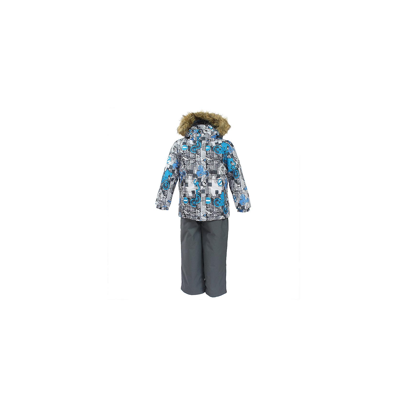 Комплект: куртка и брюки DANTE 1 HuppaКомплекты<br>Характеристики товара:<br><br>• модель: Dante 1;<br>• цвет: белый принт/серый;<br>• состав: 100% полиэстер;<br>• утеплитель: нового поколения HuppaTherm, 300 гр куртка / 160гр полукомбинезон;<br>• подкладка: полиэстер: тафта, pritex;<br>• сезон: зима;<br>• температурный режим: от -5 до - 30С;<br>• водонепроницаемость: 10000 мм  ;<br>• воздухопроницаемость: 10000 г/м2/24ч;<br>• особенности модели: c рисунком; с мехом на капюшоне;<br>• плечевые швы и шаговый шов проклеены и не пропускают влагу;<br>• в куртке застежка молния, прикрыта планкой;<br>• низ куртки стягивается кулиской, что помогает предотвращать попадание снега внутрь;<br>• в полукомбинезоне застежка молния;<br>• эластичные подтяжки регулируются по длине;<br>• низ брюк затягивается на шнурок с фиксатором;<br>• снегозащитные манжеты на штанинах;<br>• безопасный капюшон крепится на кнопки и, при необходимости, отстегивается;<br>• искусственный мех на капюшоне съемный;<br>• светоотражающие элементы для безопасности ребенка ;<br>• внутренний и боковые карманы застегиваются на молнию;<br>• манжеты рукавов эластичные, на резинках; <br>• страна бренда: Финляндия;<br>• страна изготовитель: Эстония.<br><br>Зимний комплект Dante 1 - это отличный вариант для холодной зимы. Утеплитель HuppaTherm - высокотехнологичный легкий синтетический утеплитель нового поколения. Сохраняет объем и высокую теплоизоляцию изделия. Легко стирается и быстро сохнет.Изделия HuppaTherm легкие по весу, комфортные и теплые.<br><br>Мембрана препятствует прохождению воды и ветра сквозь ткань внутрь изделия, позволяя испаряться выделяемой телом, образовывающейся внутри влаге. Прочная ткань: сплетения волокон в тканях выполнены по специальной технологии, которая придаёт ткани прочность и предохранят от истирания.Подкладка —полиэстер: тафта, pritex.<br><br>Функциональные элементы: Куртка: капюшон и мех отстегивается,  застежка молния, прикрыта планкой, манжеты на резинке, светоотражающие элементы.