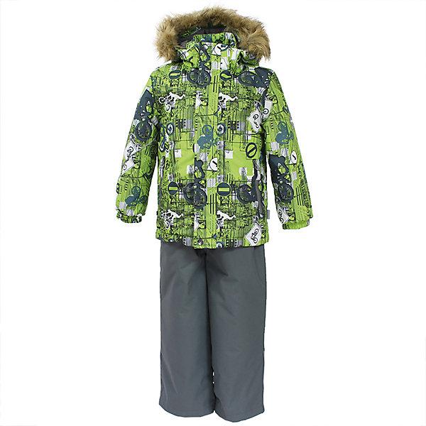 Комплект: куртка и брюки DANTE 1 Huppa для мальчикаВерхняя одежда<br>Характеристики товара:<br><br>• модель: Dante 1;<br>• цвет: салатовый принт/серый;<br>• состав: 100% полиэстер;<br>• утеплитель: нового поколения HuppaTherm, 300 гр куртка / 160гр полукомбинезон;<br>• подкладка: полиэстер: тафта, pritex;<br>• сезон: зима;<br>• температурный режим: от -5 до - 30С;<br>• водонепроницаемость: 10000 мм  ;<br>• воздухопроницаемость: 10000 г/м2/24ч;<br>• особенности модели: c рисунком; с мехом на капюшоне;<br>• плечевые швы и шаговый шов проклеены и не пропускают влагу;<br>• в куртке застежка молния, прикрыта планкой;<br>• низ куртки стягивается кулиской, что помогает предотвращать попадание снега внутрь;<br>• в полукомбинезоне застежка молния;<br>• эластичные подтяжки регулируются по длине;<br>• низ брюк затягивается на шнурок с фиксатором;<br>• снегозащитные манжеты на штанинах<br>• безопасный капюшон крепится на кнопки и, при необходимости, отстегивается;<br>• искусственный мех на капюшоне съемный;<br>• светоотражающие элементы для безопасности ребенка ;<br>• внутренний и боковые карманы застегиваются на молнию;<br>• манжеты рукавов эластичные, на резинках; <br>• страна бренда: Финляндия;<br>• страна изготовитель: Эстония.<br><br>Зимний комплект Dante 1 - это отличный вариант для холодной зимы. Утеплитель HuppaTherm - высокотехнологичный легкий синтетический утеплитель нового поколения. Сохраняет объем и высокую теплоизоляцию изделия. Легко стирается и быстро сохнет. Изделия HuppaTherm легкие по весу, комфортные и теплые. <br><br>Мембрана препятствует прохождению воды и ветра сквозь ткань внутрь изделия, позволяя испаряться выделяемой телом, образовывающейся внутри влаге. Прочная ткань: сплетения волокон в тканях выполнены по специальной технологии, которая придаёт ткани прочность и предохранят от истирания.Подкладка —полиэстер: тафта, pritex.<br><br>Функциональные элементы: Куртка: капюшон и мех отстегивается,  застежка молния, прикрыта планкой, манжеты на резинке, св