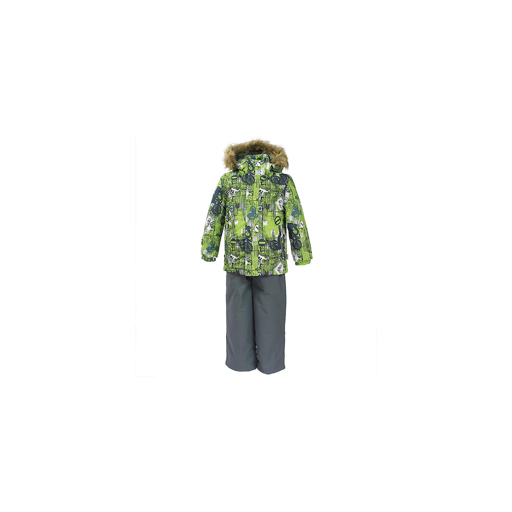 Комплект: куртка и брюки DANTE 1 HuppaВерхняя одежда<br>Характеристики товара:<br><br>• модель: Dante 1;<br>• цвет: салатовый принт/серый;<br>• состав: 100% полиэстер;<br>• утеплитель: нового поколения HuppaTherm, 300 гр куртка / 160гр полукомбинезон;<br>• подкладка: полиэстер: тафта, pritex;<br>• сезон: зима;<br>• температурный режим: от -5 до - 30С;<br>• водонепроницаемость: 10000 мм  ;<br>• воздухопроницаемость: 10000 г/м2/24ч;<br>• особенности модели: c рисунком; с мехом на капюшоне;<br>• плечевые швы и шаговый шов проклеены и не пропускают влагу;<br>• в куртке застежка молния, прикрыта планкой;<br>• низ куртки стягивается кулиской, что помогает предотвращать попадание снега внутрь;<br>• в полукомбинезоне застежка молния;<br>• эластичные подтяжки регулируются по длине;<br>• низ брюк затягивается на шнурок с фиксатором;<br>• снегозащитные манжеты на штанинах<br>• безопасный капюшон крепится на кнопки и, при необходимости, отстегивается;<br>• искусственный мех на капюшоне съемный;<br>• светоотражающие элементы для безопасности ребенка ;<br>• внутренний и боковые карманы застегиваются на молнию;<br>• манжеты рукавов эластичные, на резинках; <br>• страна бренда: Финляндия;<br>• страна изготовитель: Эстония.<br><br>Зимний комплект Dante 1 - это отличный вариант для холодной зимы. Утеплитель HuppaTherm - высокотехнологичный легкий синтетический утеплитель нового поколения. Сохраняет объем и высокую теплоизоляцию изделия. Легко стирается и быстро сохнет. Изделия HuppaTherm легкие по весу, комфортные и теплые. <br><br>Мембрана препятствует прохождению воды и ветра сквозь ткань внутрь изделия, позволяя испаряться выделяемой телом, образовывающейся внутри влаге. Прочная ткань: сплетения волокон в тканях выполнены по специальной технологии, которая придаёт ткани прочность и предохранят от истирания.Подкладка —полиэстер: тафта, pritex.<br><br>Функциональные элементы: Куртка: капюшон и мех отстегивается,  застежка молния, прикрыта планкой, манжеты на резинке, светоотражающие
