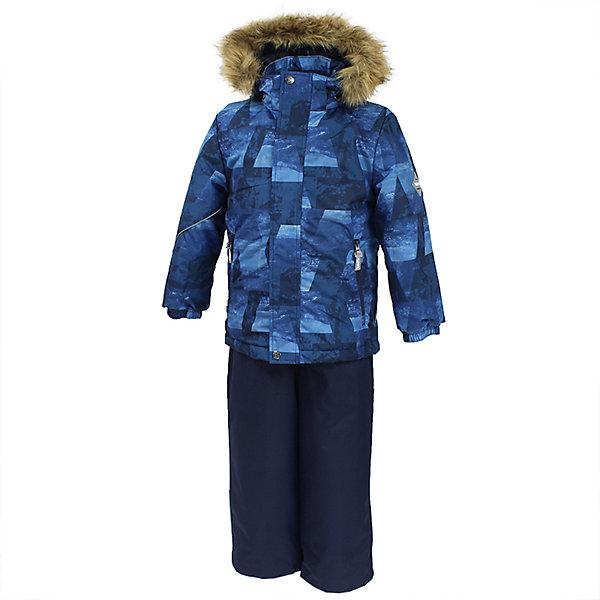 Комплект: куртка и брюки DANTE 1 Huppa для мальчикаВерхняя одежда<br>Характеристики товара:<br><br>• модель: Dante 1;<br>• цвет: синий принт/синий;<br>• состав: 100% полиэстер;<br>• утеплитель: нового поколения HuppaTherm, 300 гр куртка / 160гр полукомбинезон;<br>• подкладка: полиэстер: тафта, pritex;<br>• сезон: зима;<br>• температурный режим: от -5 до - 30С;<br>• водонепроницаемость: 10000 мм  ;<br>• воздухопроницаемость: 10000 г/м2/24ч;<br>• особенности модели: c рисунком; с мехом на капюшоне;<br>• плечевые швы и шаговый шов проклеены и не пропускают влагу;<br>• в куртке застежка молния, прикрыта планкой;<br>• низ куртки стягивается кулиской, что помогает предотвращать попадание снега внутрь;<br>• в полукомбинезоне застежка молния;<br>• эластичные подтяжки регулируются по длине;<br>• низ брюк затягивается на шнурок с фиксатором;<br>• снегозащитные манжеты на штанинах<br>• безопасный капюшон крепится на кнопки и, при необходимости, отстегивается;<br>• искусственный мех на капюшоне съемный;<br>• светоотражающие элементы для безопасности ребенка ;<br>• внутренний и боковые карманы застегиваются на молнию;<br>• манжеты рукавов эластичные, на резинках; <br>• страна бренда: Финляндия;<br>• страна изготовитель: Эстония.<br><br>Зимний комплект Dante 1 - это отличный вариант для холодной зимы. Утеплитель HuppaTherm - высокотехнологичный легкий синтетический утеплитель нового поколения. Сохраняет объем и высокую теплоизоляцию изделия. Легко стирается и быстро сохнет. Изделия HuppaTherm легкие по весу, комфортные и теплые.<br><br>Мембрана препятствует прохождению воды и ветра сквозь ткань внутрь изделия, позволяя испаряться выделяемой телом, образовывающейся внутри влаге. Прочная ткань: сплетения волокон в тканях выполнены по специальной технологии, которая придаёт ткани прочность и предохранят от истирания.Подкладка —полиэстер: тафта, pritex.<br><br>Функциональные элементы: Куртка: капюшон и мех отстегивается,  застежка молния, прикрыта планкой, манжеты на резинке, светоот