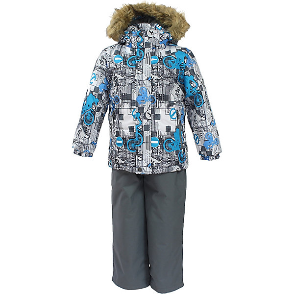 Комплект: куртка и брюки DANTE Huppa для мальчикаКомплекты<br>Характеристики товара:<br><br>• модель: Dante;<br>• цвет: белый принт/ серый;<br>• состав: 100% полиэстер;<br>• утеплитель: нового поколения HuppaTherm, 300 гр куртка / 160гр брюки;<br>• подкладка: полиэстер: тафта, pritex;<br>• сезон: зима;<br>• температурный режим: от -5 до - 30С;<br>• водонепроницаемость: 10000 мм;<br>• воздухопроницаемость: 10000 г/м2/24ч;<br>• особенности модели: c рисунком; с мехом на капюшоне;<br>• плечевые швы и шаговый шов проклеены и не пропускают влагу;<br>• в куртке застежка молния, прикрыта планкой;<br>• низ куртки стягивается кулиской, что помогает предотвращать попадание снега внутрь;<br>• эластичные подтяжки регулируются по длине;<br>• низ брюк затягивается на шнурок с фиксатором;<br>• снегозащитные манжеты на штанинах;<br>• безопасный капюшон крепится на кнопки и, при необходимости, отстегивается;<br>• искусственный мех на капюшоне съемный;<br>• светоотражающие элементы для безопасности ребенка;<br>• внутренний и боковые карманы застегиваются на молнию;<br>• манжеты рукавов эластичные, на резинках; <br>• страна бренда: Финляндия;<br>• страна изготовитель: Эстония.<br><br>Зимний комплект Dante - это отличный вариант для холодной зимы. Утеплитель HuppaTherm - высокотехнологичный легкий синтетический утеплитель нового поколения. Сохраняет объем и высокую теплоизоляцию изделия. Легко стирается и быстро сохнет. Изделия HuppaTherm легкие по весу, комфортные и теплые.<br><br>Мембрана препятствует прохождению воды и ветра сквозь ткань внутрь изделия, позволяя испаряться выделяемой телом, образовывающейся внутри влаге. Прочная ткань: сплетения волокон в тканях выполнены по специальной технологии, которая придаёт ткани прочность и предохранят от истирания.Подкладка —полиэстер: тафта, pritex.<br><br>Функциональные элементы: Куртка: капюшон и мех отстегивается,  застежка молния, прикрыта планкой, манжеты на резинке, светоотражающие элементы. Брюки:  застежка молния, эластичные подтяж