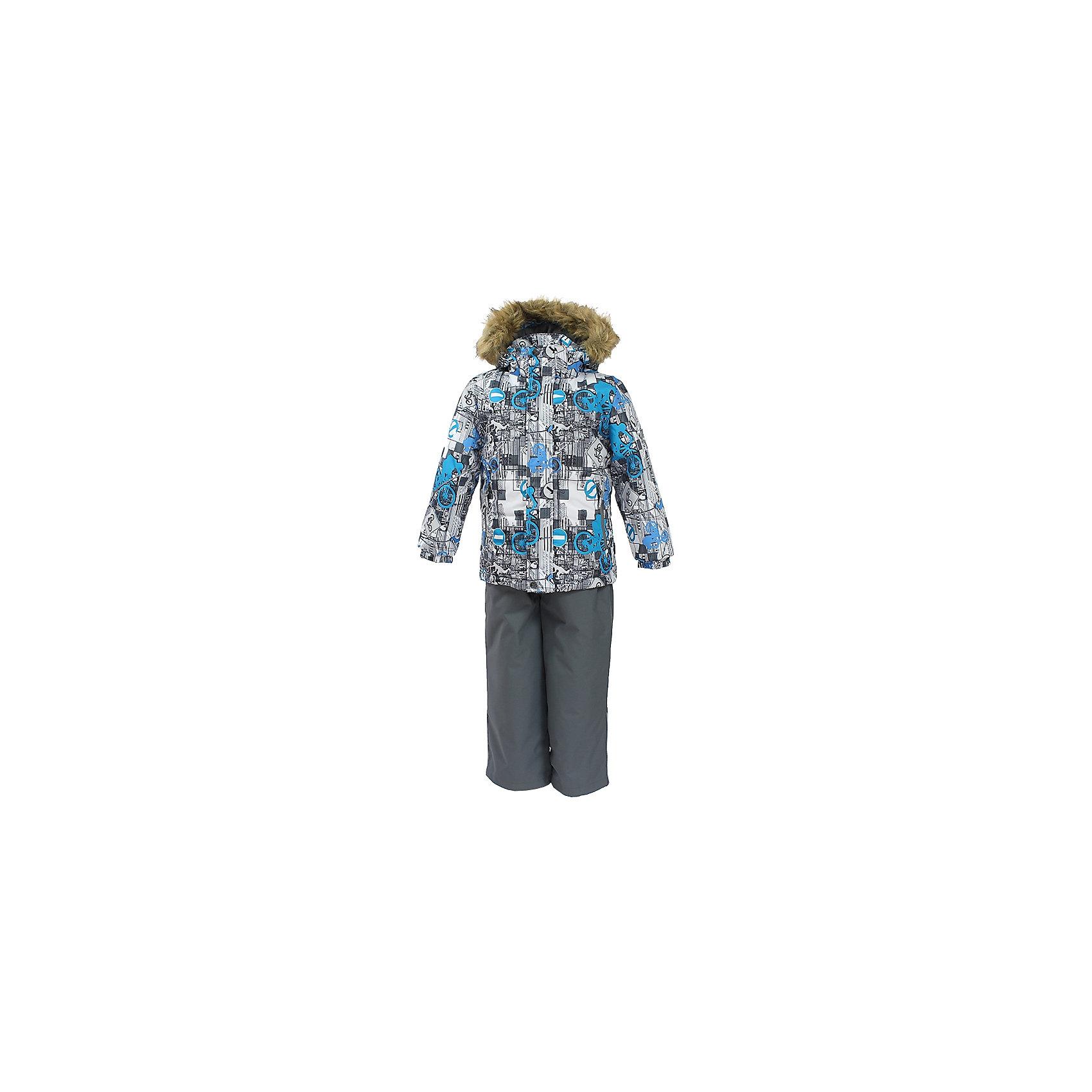 Комплект: куртка и брюки DANTE HuppaВерхняя одежда<br>Характеристики товара:<br><br>• модель: Dante;<br>• цвет: белый принт/ серый;<br>• состав: 100% полиэстер;<br>• утеплитель: нового поколения HuppaTherm, 300 гр куртка / 160гр брюки;<br>• подкладка: полиэстер: тафта, pritex;<br>• сезон: зима;<br>• температурный режим: от -5 до - 30С;<br>• водонепроницаемость: 10000 мм;<br>• воздухопроницаемость: 10000 г/м2/24ч;<br>• особенности модели: c рисунком; с мехом на капюшоне;<br>• плечевые швы и шаговый шов проклеены и не пропускают влагу;<br>• в куртке застежка молния, прикрыта планкой;<br>• низ куртки стягивается кулиской, что помогает предотвращать попадание снега внутрь;<br>• эластичные подтяжки регулируются по длине;<br>• низ брюк затягивается на шнурок с фиксатором;<br>• снегозащитные манжеты на штанинах;<br>• безопасный капюшон крепится на кнопки и, при необходимости, отстегивается;<br>• искусственный мех на капюшоне съемный;<br>• светоотражающие элементы для безопасности ребенка;<br>• внутренний и боковые карманы застегиваются на молнию;<br>• манжеты рукавов эластичные, на резинках; <br>• страна бренда: Финляндия;<br>• страна изготовитель: Эстония.<br><br>Зимний комплект Dante - это отличный вариант для холодной зимы. Утеплитель HuppaTherm - высокотехнологичный легкий синтетический утеплитель нового поколения. Сохраняет объем и высокую теплоизоляцию изделия. Легко стирается и быстро сохнет. Изделия HuppaTherm легкие по весу, комфортные и теплые.<br><br>Мембрана препятствует прохождению воды и ветра сквозь ткань внутрь изделия, позволяя испаряться выделяемой телом, образовывающейся внутри влаге. Прочная ткань: сплетения волокон в тканях выполнены по специальной технологии, которая придаёт ткани прочность и предохранят от истирания.Подкладка —полиэстер: тафта, pritex.<br><br>Функциональные элементы: Куртка: капюшон и мех отстегивается,  застежка молния, прикрыта планкой, манжеты на резинке, светоотражающие элементы. Брюки:  застежка молния, эластичные подтяжки регул