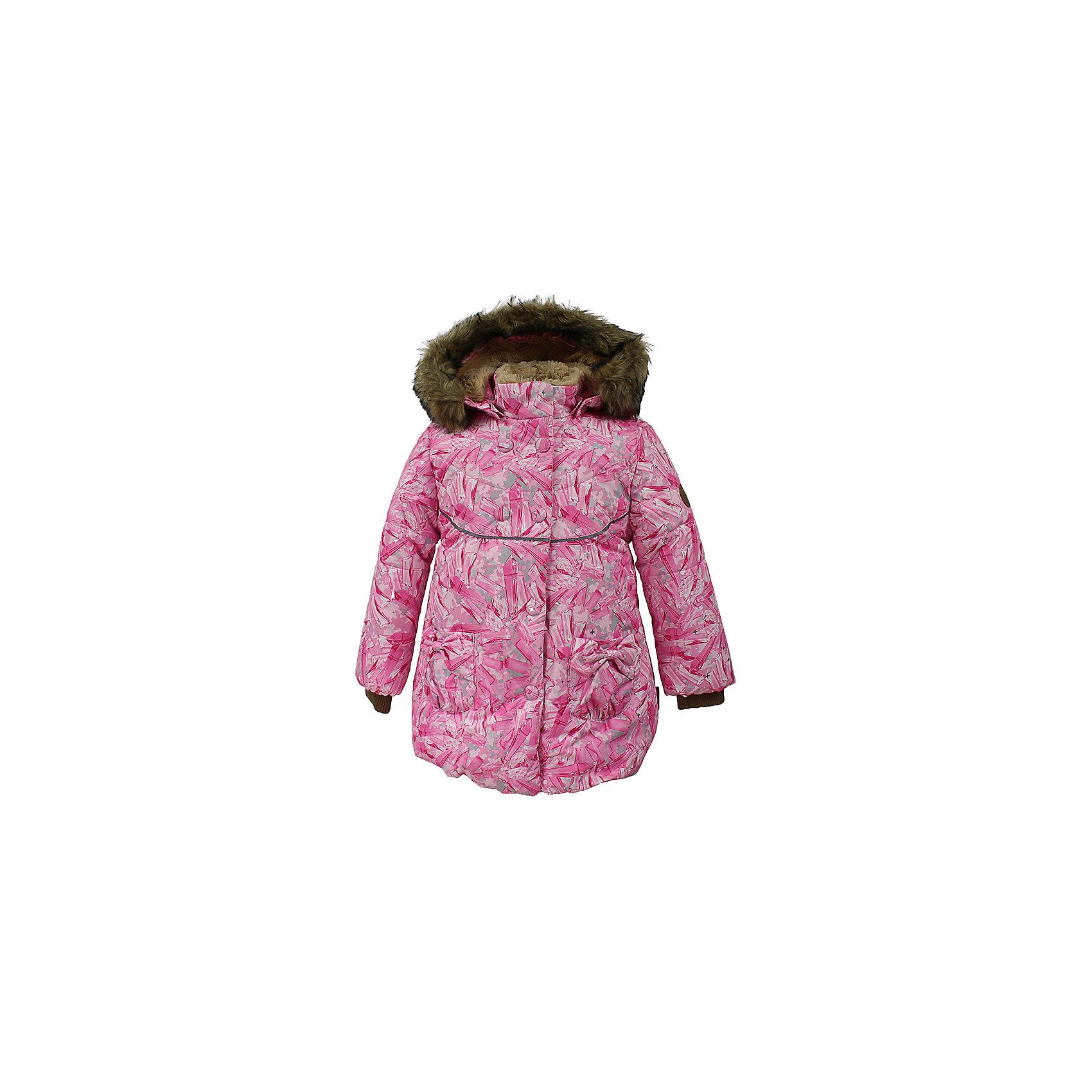 Куртка OLIVIA Huppa для девочкиВерхняя одежда<br>Характеристики товара:<br><br>• модель: Olivia;<br>• цвет: розовый;<br>• состав: 100% полиэстер;<br>• утеплитель: полиэстер,300 гр.;<br>• подкладка: Teddy Fur, тафта,полиэстер;<br>• сезон: зима;<br>• температурный режим: от -5 до - 30С;<br>• водонепроницаемость: 5000 мм;<br>• воздухопроницаемость: 5000 г/м2/24ч;<br>• особенности модели: c рисунком; с мехом на капюшоне;<br>• защитная планка молнии на кнопках;<br>• защита подбородка от защемления;<br>• мягкая меховая подкладка;<br>• безопасный капюшон крепится на кнопки и, при необходимости, отстегивается;<br>• искусственный мех на капюшоне съемный;<br>• спереди расположены два накладныхкармана, с декором в виде бантиков;<br>• светоотражающие элементы для безопасности ребенка;<br>•  трикотажные манжеты; <br>• страна бренда: Финляндия;<br>• страна изготовитель: Эстония.<br><br>Зимняя куртка с капюшоном Olivia для девочки изготовлена из водо и ветронепроницаемого, грязеотталкивающего материала. В куртке Olivia 300 грамм утеплителя, которые обеспечат тепло и комфорт ребенку при температуре от -5 до -30 градусов.Подкладка —Teddy Fur,тафта.<br><br>Функциональные элементы: капюшон отстегивается с помощью кнопок, мех отстегивается, защитная планка молнии на кнопках, защита подбородка от защемления, мягкая меховая подкладка, карманы без застежек, трикотажные манжеты, светоотражающие элементы. <br><br>Куртку Olivia для девочки бренда HUPPA  можно купить в нашем интернет-магазине.<br><br>Ширина мм: 356<br>Глубина мм: 10<br>Высота мм: 245<br>Вес г: 519<br>Цвет: розовый<br>Возраст от месяцев: 60<br>Возраст до месяцев: 72<br>Пол: Женский<br>Возраст: Детский<br>Размер: 116,122,110,80,86,92,98,104<br>SKU: 7024855