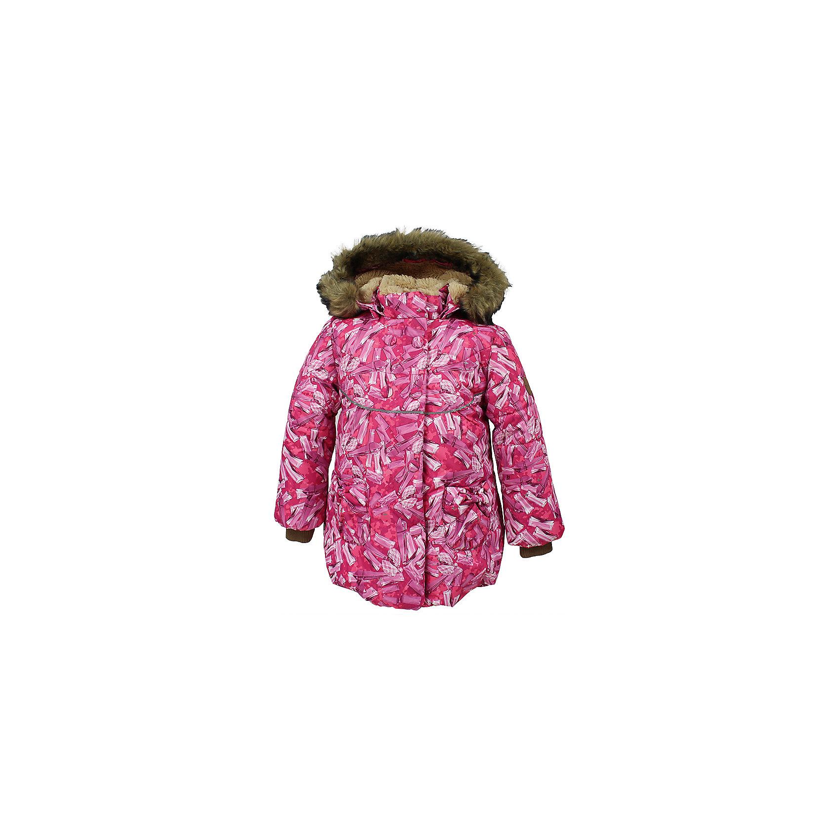 Куртка OLIVIA Huppa для девочкиЗимние куртки<br>Характеристики товара:<br><br>• модель: Olivia;<br>• цвет: фуксия;<br>• состав: 100% полиэстер;<br>• утеплитель: полиэстер,300 гр.;<br>• подкладка: Teddy Fur, тафта,полиэстер;<br>• сезон: зима;<br>• температурный режим: от -5 до - 30С;<br>• водонепроницаемость: 5000 мм;<br>• воздухопроницаемость: 5000 г/м2/24ч;<br>• особенности модели: c рисунком; с мехом на капюшоне;<br>• защитная планка молнии на кнопках;<br>• защита подбородка от защемления;<br>• мягкая меховая подкладка;<br>• безопасный капюшон крепится на кнопки и, при необходимости, отстегивается;<br>• искусственный мех на капюшоне съемный;<br>• спереди расположены два накладныхкармана, с декором в виде бантиков;<br>• светоотражающие элементы для безопасности ребенка;<br>•  трикотажные манжеты; <br>• страна бренда: Финляндия;<br>• страна изготовитель: Эстония.<br><br>Зимняя куртка с капюшоном Olivia для девочки изготовлена из водо и ветронепроницаемого, грязеотталкивающего материала. В куртке Olivia 300 грамм утеплителя, которые обеспечат тепло и комфорт ребенку при температуре от -5 до -30 градусов.Подкладка —Teddy Fur,тафта.<br><br>Функциональные элементы: капюшон отстегивается с помощью кнопок, мех отстегивается, защитная планка молнии на кнопках, защита подбородка от защемления, мягкая меховая подкладка, карманы без застежек, трикотажные манжеты, светоотражающие элементы. <br><br>Куртку Olivia для девочки бренда HUPPA  можно купить в нашем интернет-магазине.<br><br>Ширина мм: 356<br>Глубина мм: 10<br>Высота мм: 245<br>Вес г: 519<br>Цвет: фуксия<br>Возраст от месяцев: 12<br>Возраст до месяцев: 18<br>Пол: Женский<br>Возраст: Детский<br>Размер: 86,80,92,98,104,110,116,122<br>SKU: 7024873