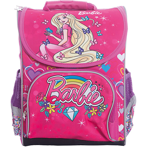 Ранец Limpopo Premium box Barbie, без наполненияРанцы<br>Вес: 850 граммов<br>Размер: 37*28*16 см<br>Наличие светоотражающих элементов: да<br>Материал: полиэстер<br>Спина: жесткая<br>Наличие дополнительных карманов внутри: да<br>Дно: мягкое с резиновыми накладками<br>Количество отделений внутри: 2<br>Боковые карманы: есть, на резинках<br>Вмещает А4: да<br>Подойдет для возраста  6-9 лет, для роста 122-146<br>Ранец Premium box предназначенный для учеников младших классов, выполнен в стильном, ярком дизайне, отличается надежной и крепкой конструкцией, которая придется по душе самому взыскательному покупателю. Жесткий каркас не позволит ранцу сгибаться и терять форму. Снаружи ранец оснащен двумя боковыми карманами- сеточками одним передним карманом на замке, а также устойчивым дном на ножках, защищающим от загрязнения. Внутри ранца находится вместительное отделение и карман на резинке. Модель ранца Premium box соответствует всем необходимым для здоровья и безопасности ребенка требованиям, а именно расположенными на лямках и передней части ранца световозвращающими элементами, широкими регулируемыми лямками, а также эргономичной спинкой, повторяющей естественный изгиб позвоночника.<br>Ширина мм: 370; Глубина мм: 280; Высота мм: 160; Вес г: 850; Возраст от месяцев: 72; Возраст до месяцев: 108; Пол: Женский; Возраст: Детский; SKU: 7025659;