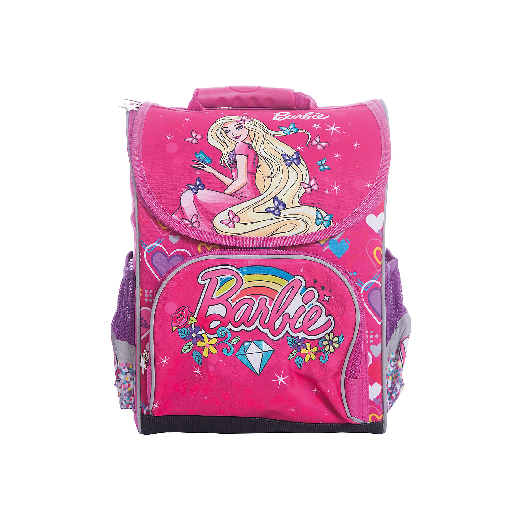 Ранец Limpopo Premium box Barbie, без наполненияBarbie<br>Вес: 850 граммов<br>Размер: 37*28*16 см<br>Наличие светоотражающих элементов: да<br>Материал: полиэстер<br>Спина: жесткая<br>Наличие дополнительных карманов внутри: да<br>Дно: мягкое с резиновыми накладками<br>Количество отделений внутри: 2<br>Боковые карманы: есть, на резинках<br>Вмещает А4: да<br>Подойдет для возраста  6-9 лет, для роста 122-146<br>Ранец Premium box предназначенный для учеников младших классов, выполнен в стильном, ярком дизайне, отличается надежной и крепкой конструкцией, которая придется по душе самому взыскательному покупателю. Жесткий каркас не позволит ранцу сгибаться и терять форму. Снаружи ранец оснащен двумя боковыми карманами- сеточками одним передним карманом на замке, а также устойчивым дном на ножках, защищающим от загрязнения. Внутри ранца находится вместительное отделение и карман на резинке. Модель ранца Premium box соответствует всем необходимым для здоровья и безопасности ребенка требованиям, а именно расположенными на лямках и передней части ранца световозвращающими элементами, широкими регулируемыми лямками, а также эргономичной спинкой, повторяющей естественный изгиб позвоночника.<br><br>Ширина мм: 370<br>Глубина мм: 280<br>Высота мм: 160<br>Вес г: 850<br>Возраст от месяцев: 72<br>Возраст до месяцев: 108<br>Пол: Женский<br>Возраст: Детский<br>SKU: 7025659