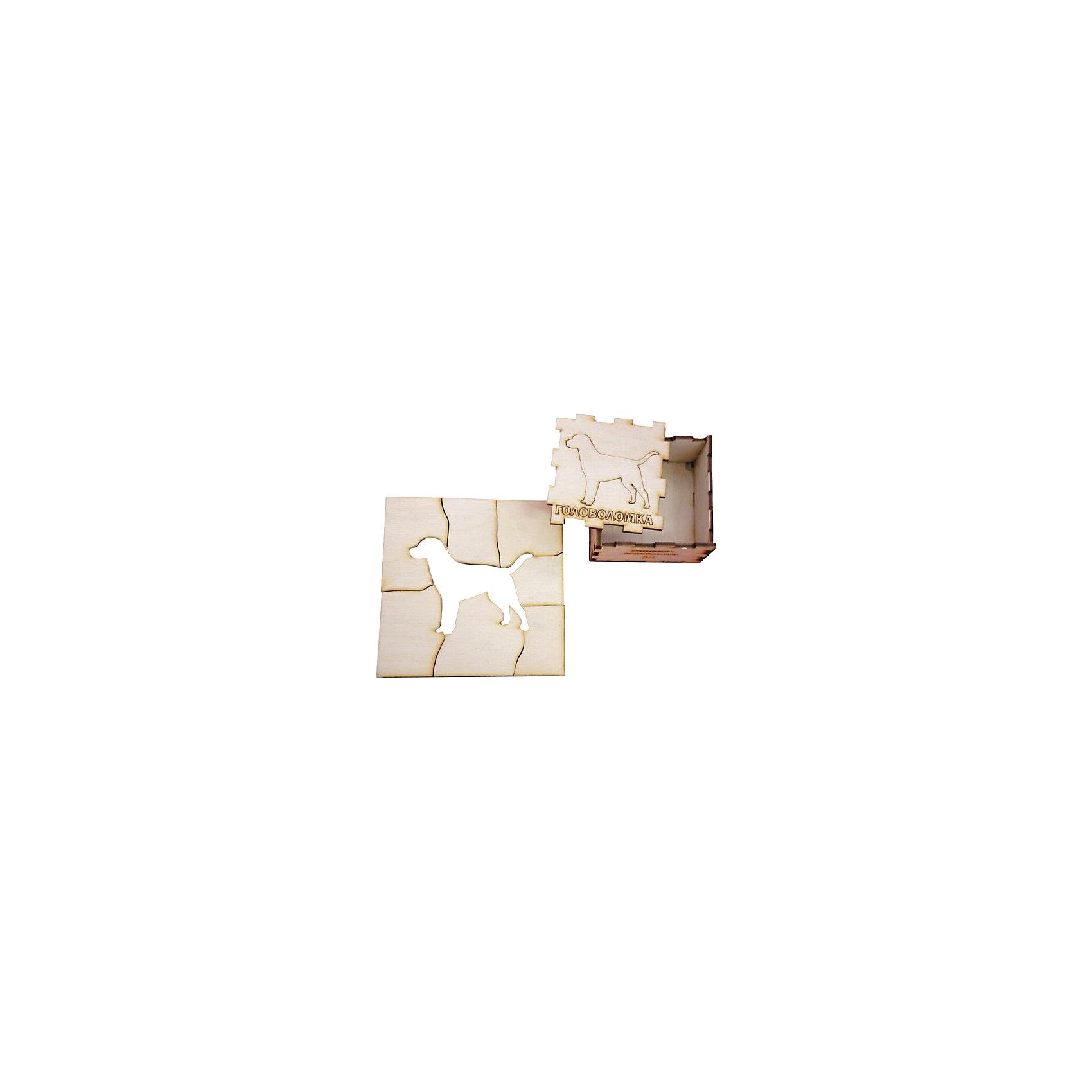 Головоломка Собака, ПолноцветДеревянные головоломки<br>Характеристики:<br><br>• возраст: от 5 лет;<br>• уровень сложности: 3;<br>• материал: фанера березовая шлифованная ФК, 3 мм;<br>• размер упаковки: 6х6х3 см;<br>• вес упаковки: 60 г;<br>• тип упаковки: деревянная коробка.<br><br>Головоломка - это прекрасный инструмент для ума, вырабатывающий неординарное видение. Головоломку можно раскрасить красками, карандашами или фломастерами. Деревянная коробка с крышкой вмещает детали головоломки. Чтобы решить головоломку, нужно собрать квадрат с выемкой в виде собаки.<br><br>Развивающие занятия стимулируют логику, пространственное мышление и тренируют мелкую моторику.<br><br>Головоломку «Собака», Полноцвет можно приобрести в нашем интернет-магазине.<br><br>Ширина мм: 30<br>Глубина мм: 60<br>Высота мм: 60<br>Вес г: 60<br>Возраст от месяцев: 36<br>Возраст до месяцев: 2147483647<br>Пол: Унисекс<br>Возраст: Детский<br>SKU: 7025954