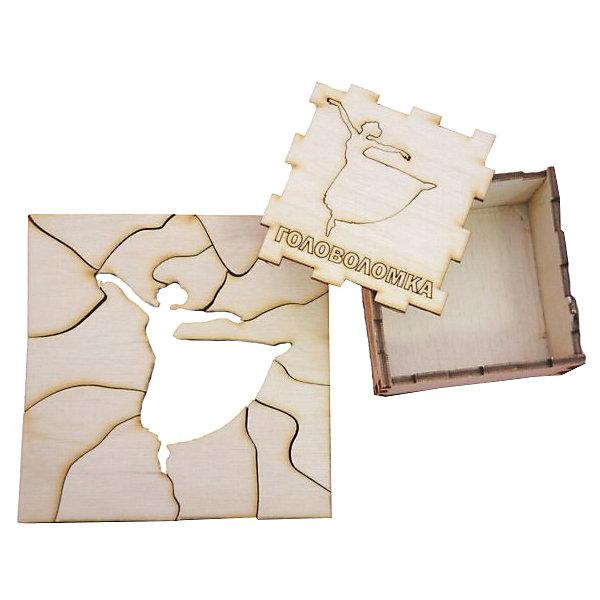 Головоломка Балерина, ПолноцветКлассические головоломки<br>Характеристики:<br><br>• возраст: от 5 лет;<br>• уровень сложности: 4;<br>• материал: фанера березовая шлифованная ФК, 3 мм;<br>• размер упаковки: 6х6х3 см;<br>• вес упаковки: 70 г;<br>• тип упаковки: деревянная коробка.<br><br>Головоломка - это прекрасный инструмент для ума, вырабатывающий неординарное видение. Головоломку можно раскрасить красками, карандашами или фломастерами. Деревянная коробка с крышкой вмещает детали головоломки. Чтобы решить головоломку, нужно собрать квадрат с выемкой в виде танцующей балерины.<br><br>Развивающие занятия стимулируют логику, пространственное мышление и тренируют мелкую моторику.<br><br>Головоломку «Балерина», Полноцвет можно приобрести в нашем интернет-магазине.<br><br>Ширина мм: 30<br>Глубина мм: 60<br>Высота мм: 60<br>Вес г: 70<br>Возраст от месяцев: 36<br>Возраст до месяцев: 2147483647<br>Пол: Унисекс<br>Возраст: Детский<br>SKU: 7025955