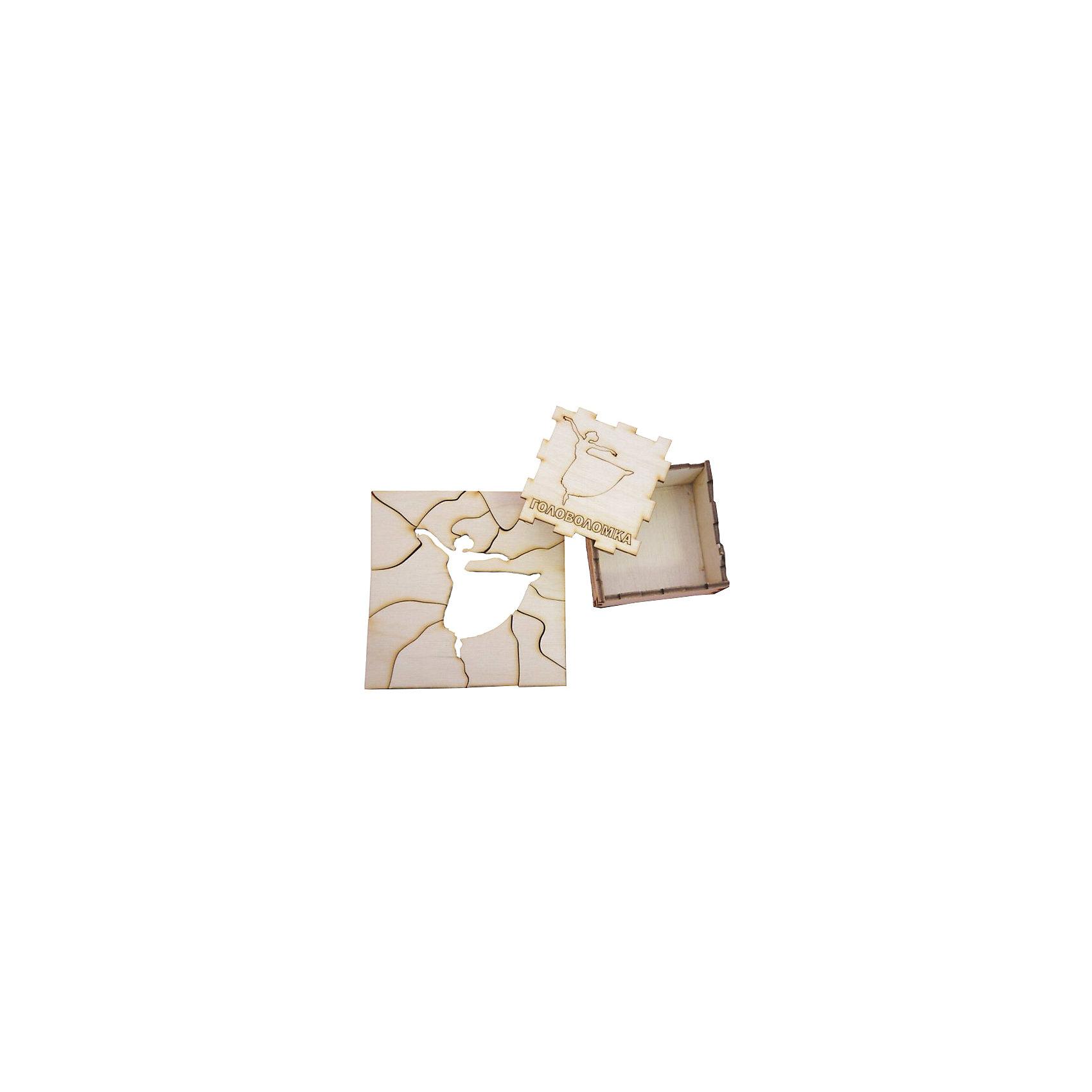 Головоломка Балерина, ПолноцветДеревянные головоломки<br>Характеристики:<br><br>• возраст: от 5 лет;<br>• уровень сложности: 4;<br>• материал: фанера березовая шлифованная ФК, 3 мм;<br>• размер упаковки: 6х6х3 см;<br>• вес упаковки: 70 г;<br>• тип упаковки: деревянная коробка.<br><br>Головоломка - это прекрасный инструмент для ума, вырабатывающий неординарное видение. Головоломку можно раскрасить красками, карандашами или фломастерами. Деревянная коробка с крышкой вмещает детали головоломки. Чтобы решить головоломку, нужно собрать квадрат с выемкой в виде танцующей балерины.<br><br>Развивающие занятия стимулируют логику, пространственное мышление и тренируют мелкую моторику.<br><br>Головоломку «Балерина», Полноцвет можно приобрести в нашем интернет-магазине.<br><br>Ширина мм: 30<br>Глубина мм: 60<br>Высота мм: 60<br>Вес г: 70<br>Возраст от месяцев: 36<br>Возраст до месяцев: 2147483647<br>Пол: Унисекс<br>Возраст: Детский<br>SKU: 7025955