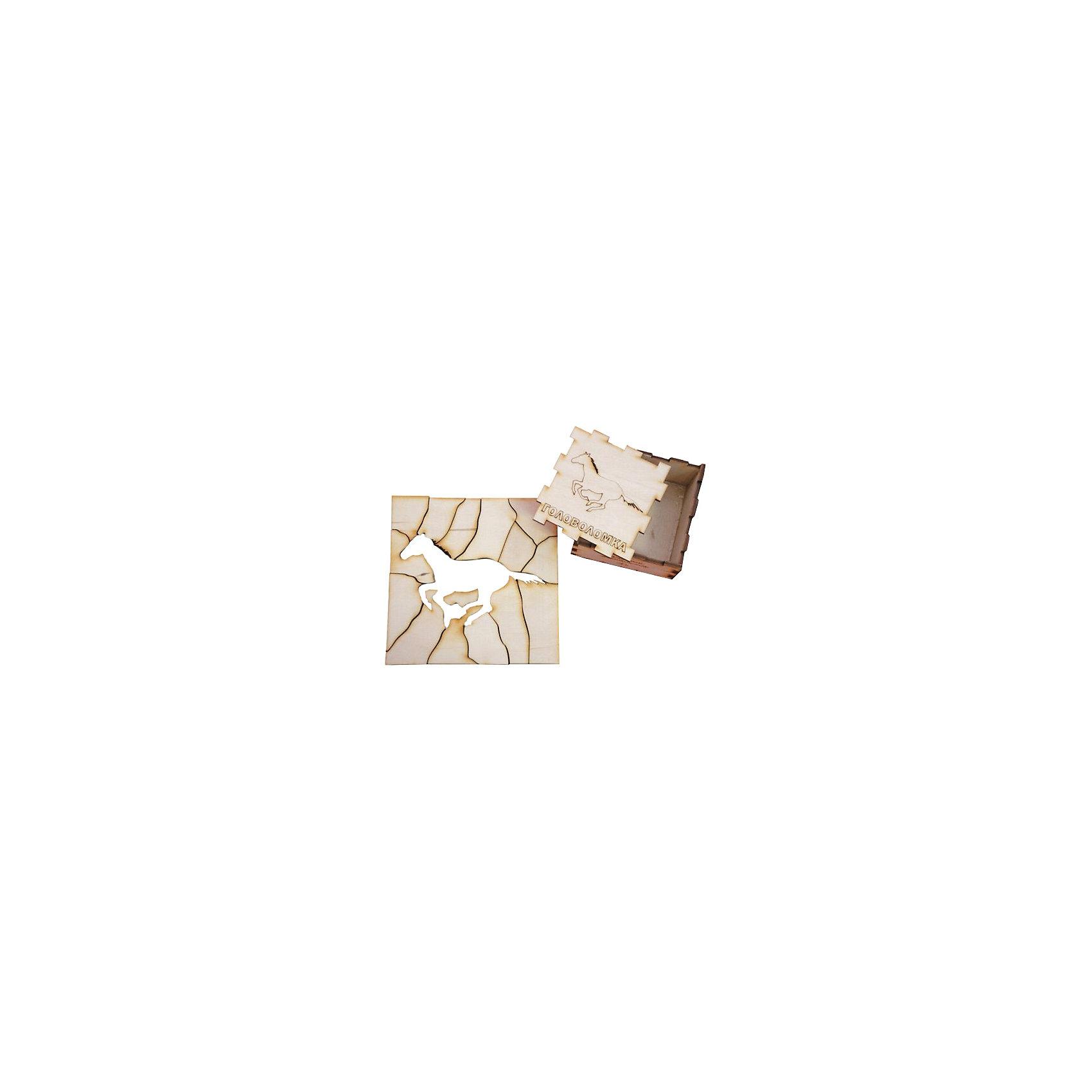 Головоломка Лошадь, ПолноцветДеревянные головоломки<br>Характеристики:<br><br>• возраст: от 5 лет;<br>• уровень сложности: 4;<br>• материал: фанера березовая шлифованная ФК, 3 мм ;<br>• размер упаковки: 6х6х3 см;<br>• вес упаковки: 70 г;<br>• тип упаковки: деревянная коробка.<br><br>Головоломка - это прекрасный инструмент для ума, вырабатывающий неординарное видение. Головоломку можно раскрасить красками, карандашами или фломастерами. Деревянная коробка с крышкой вмещает детали головоломки. Чтобы решить головоломку, нужно собрать квадрат с выемкой в виде лошади.<br><br>Развивающие занятия стимулируют логику, пространственное мышление и тренируют мелкую моторику.<br><br>Головоломку «Лошадь», Полноцвет можно приобрести в нашем интернет-магазине.<br><br>Ширина мм: 30<br>Глубина мм: 60<br>Высота мм: 60<br>Вес г: 70<br>Возраст от месяцев: 36<br>Возраст до месяцев: 2147483647<br>Пол: Унисекс<br>Возраст: Детский<br>SKU: 7025956