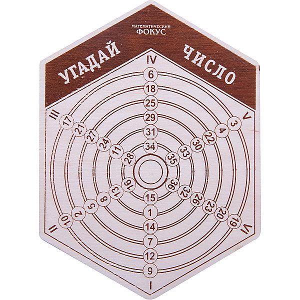 Головоломка Математический фокус.Угадай число, ПолноцветКлассические головоломки<br>Характеристики:<br><br>• возраст: от 5 лет;<br>• уровень сложности: 4;<br>• материал: фанера березовая шлифованная ФК, 3 мм;<br>• размер упаковки: 10,6х14,3х0,3 см;<br>• вес упаковки: 20 г;<br>• краска: водная краска нанесена с двух сторон;<br>• тип упаковки: пакет с европодвесом и скотч-клапаном.<br><br>Фокус-розыгрыш дарит удивительную способность отгадывать задуманное игроками число. Игра представляет собой шестиугольник с цифрами. Темный шестиугольник на лицевой стороне, с окружностями - на обратной стороне. <br><br>Для выполнения фокуса игроки загадывают число на лицевой стороне, а ведущий назовет его. Разгадка фокуса находится на обратной стороне этикетки. Нужно уточнить в каком ряду находится число. Ряды с числами распложены по радиусам и пронумерованы. Затем, попросить перевернуть шестиугольник, найти это число на обороте и сказать вам, в каком ряду оно на этой стороне. Это даст ответ ведущему.<br><br>Развивающие занятия стимулируют логику, пространственное мышление и смекалку.<br><br>Головоломку «Математический фокус. Угадай число», Полноцвет можно приобрести в нашем интернет-магазине.<br><br>Ширина мм: 30<br>Глубина мм: 10<br>Высота мм: 140<br>Вес г: 20<br>Возраст от месяцев: 36<br>Возраст до месяцев: 2147483647<br>Пол: Унисекс<br>Возраст: Детский<br>SKU: 7025957