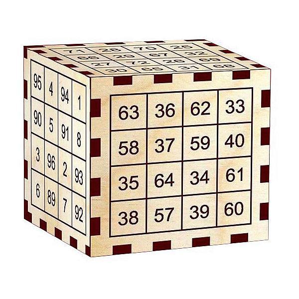 Головоломка Математический фокус.Чудесный куб, ПолноцветКлассические головоломки<br>Характеристики:<br><br>• возраст: от 10 лет;<br>• уровень сложности: 4;<br>• материал: фанера березовая шлифованная ФК, 3 мм;<br>• размер головоломки: 6х6х6 см;<br>• вес упаковки: 20 г;<br>• краска: водная;<br>• тип упаковки: пакет с европодвесом и скотч-клапаном.<br><br>Фокус-розыгрыш дарит удивительную способность угадывать цифры и показывать необыкновенное представление. Игра представляет собой куб с цифрами. <br><br>Ведущий заранее берет любую книгу и определенным образом выписывает оттуда слово на бумажку. Затем отдает эту бумажку игроку, который, не читая её, прячет в карман. «Фокусник» предлагает сложить числа любого ряда по вертикали или горизонтали на любой грани куба. Игрок должен сложить их в уме, но не называть результат. Затем, ведущий дает свою книгу и говорит, что первая цифра его суммы обозначает страницу, вторая - строку на этой странице, а третья указывает, какое слово написано у него на бумажке в кармане. Разгадка фокуса на обратной стороне этикетки.<br><br>Развивающие занятия стимулируют логику, пространственное мышление и смекалку.<br><br>Головоломку «Математический фокус. Чудесный куб», Полноцвет можно приобрести в нашем интернет-магазине.<br><br>Ширина мм: 60<br>Глубина мм: 60<br>Высота мм: 60<br>Вес г: 20<br>Возраст от месяцев: 36<br>Возраст до месяцев: 2147483647<br>Пол: Унисекс<br>Возраст: Детский<br>SKU: 7025958