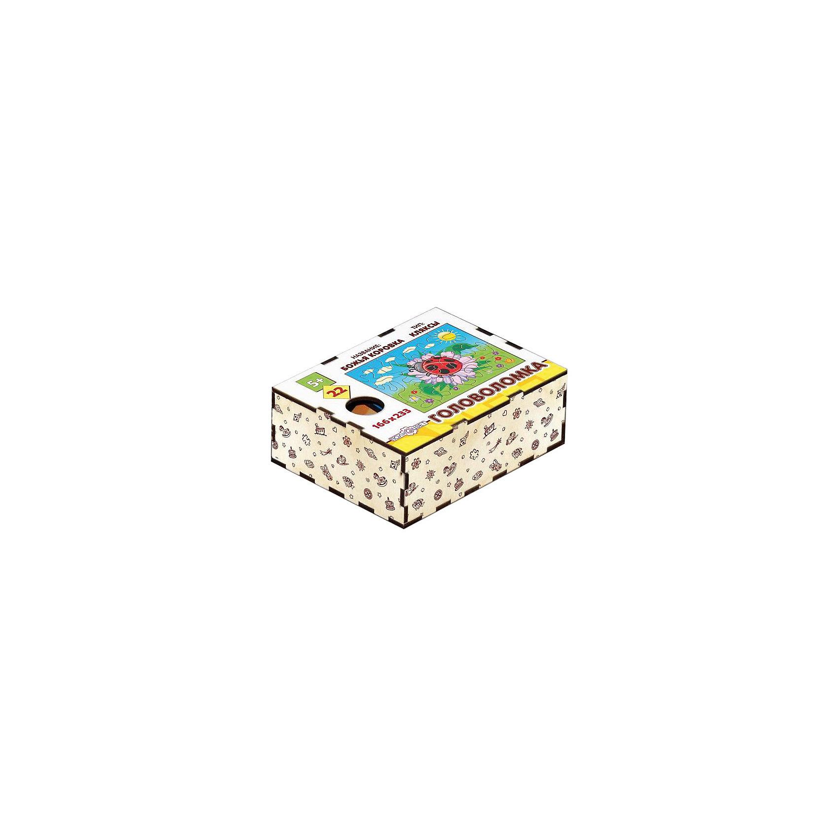Головоломка Кляксы. Божья коровка, ПолноцветДеревянные головоломки<br>Характеристики:<br><br>• возраст: от 5 лет;<br>• количество деталей: 22;<br>• материал: фанера березовая шлифованная ФК, 3 мм;<br>• размер головоломки: 16,6х23,3х0,3 см;<br>• вес: 150 г;<br>• краска: УФ краска;<br>• тип упаковки: деревянная коробка открытого типа, термоусадка.<br><br>Интересный пазл из деталей необычной формы надолго увлечет малышей. Мальчикам и девочкам потребуется проявить максимум внимательности и усидчивости, чтобы собрать красочную картинку с божьей коровкой.<br><br>Деревянная головоломка с высококачественной печатью имеет высокий срок службы. <br><br>Игрушка рекомендована для детских садов и центров, а также для домашнего использования.<br><br>Головоломку «Кляксы. Божья коровка», Полноцвет можно приобрести в нашем интернет-магазине.<br><br>Ширина мм: 30<br>Глубина мм: 230<br>Высота мм: 170<br>Вес г: 150<br>Возраст от месяцев: 36<br>Возраст до месяцев: 2147483647<br>Пол: Унисекс<br>Возраст: Детский<br>SKU: 7025961