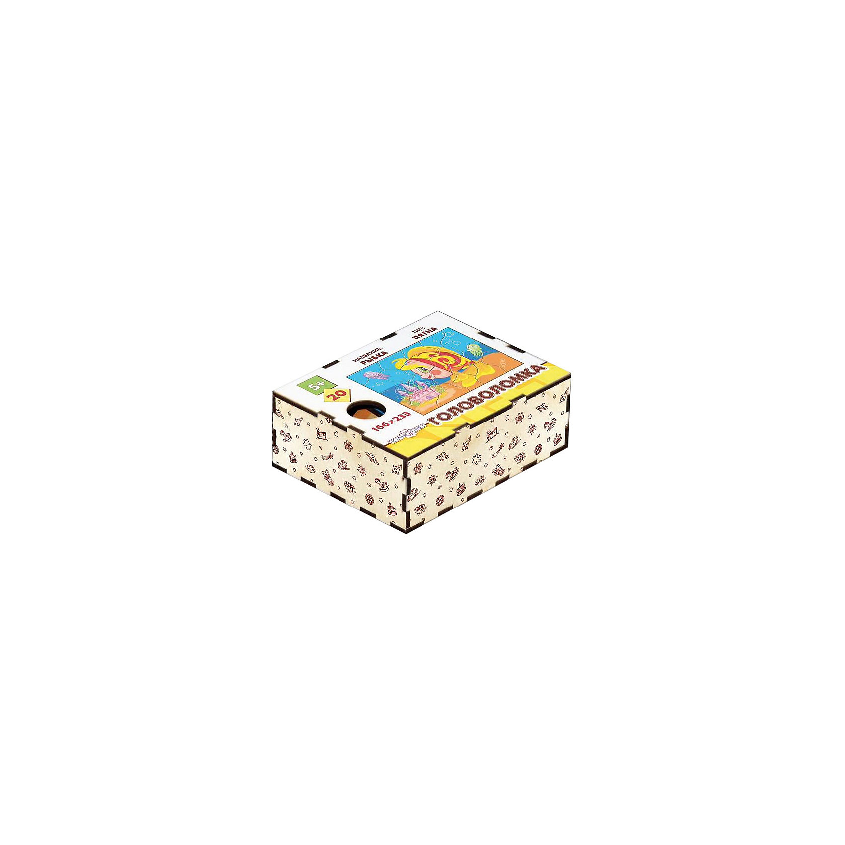 Головоломка Пятна. Рыбка, ПолноцветДеревянные головоломки<br>Характеристики:<br><br>• возраст: от 5 лет;<br>• количество деталей: 20;<br>• материал: фанера березовая шлифованная ФК, 3 мм;<br>• размер головоломки: 16,6х23,3х0,3 см;<br>• вес: 150 г;<br>• краска: УФ краска;<br>• тип упаковки: деревянная коробка открытого типа, термоусадка.<br><br>Интересный пазл из деталей необычной формы надолго увлечет малышей. Мальчикам и девочкам потребуется проявить максимум внимательности и усидчивости, чтобы собрать красочную картинку с рыбкой.<br><br>Деревянная головоломка с высококачественной печатью имеет высокий срок службы. <br><br>Игрушка рекомендована для детских садов и центров, а также для домашнего использования.<br><br>Головоломку «Пятна. Рыба», Полноцвет можно приобрести в нашем интернет-магазине.<br><br>Ширина мм: 30<br>Глубина мм: 230<br>Высота мм: 170<br>Вес г: 150<br>Возраст от месяцев: 36<br>Возраст до месяцев: 2147483647<br>Пол: Унисекс<br>Возраст: Детский<br>SKU: 7025964