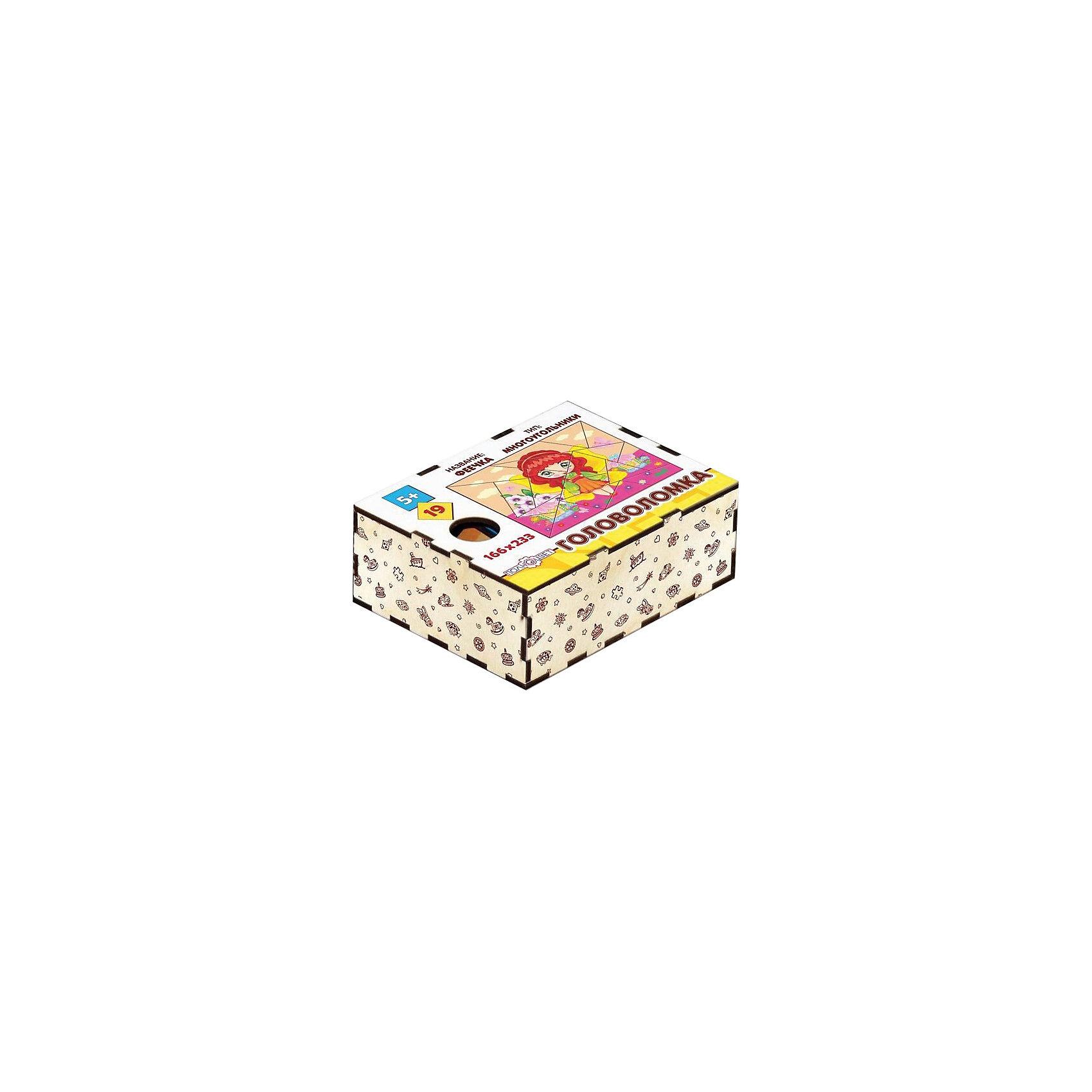 Головоломка Многоугольники. Феечка, ПолноцветДеревянные головоломки<br>Характеристики:<br><br>• возраст: от 5 лет;<br>• количество деталей: 19;<br>• материал: фанера березовая шлифованная ФК, 3 мм;<br>• размер головоломки: 16,6х23,3х0,3 см;<br>• вес: 150 г;<br>• краска: УФ краска;<br>• тип упаковки: деревянная коробка открытого типа, термоусадка.<br><br>Интересный пазл из деталей в форме многоугольников надолго увлечет малышей. Мальчикам и девочкам потребуется проявить максимум внимательности и усидчивости, чтобы собрать красочную картинку с феей.<br><br>Деревянная головоломка с высококачественной печатью имеет высокий срок службы. <br><br>Игрушка рекомендована для детских садов и центров, а также для домашнего использования.<br><br>Головоломку «Многоугольники. Феечка», Полноцвет можно приобрести в нашем интернет-магазине.<br><br>Ширина мм: 30<br>Глубина мм: 230<br>Высота мм: 170<br>Вес г: 150<br>Возраст от месяцев: 36<br>Возраст до месяцев: 2147483647<br>Пол: Унисекс<br>Возраст: Детский<br>SKU: 7025966