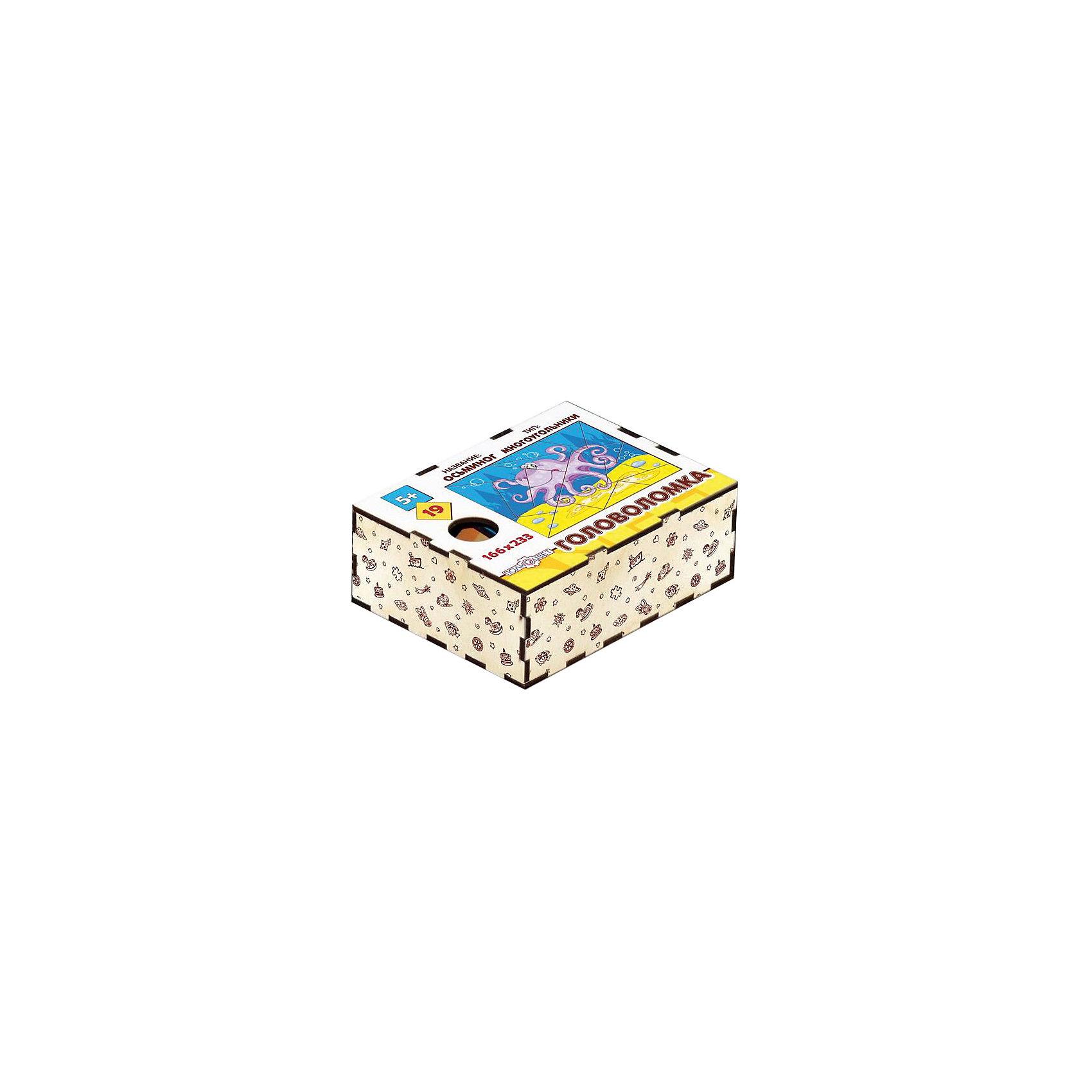Головоломка Многоугольники. Осьминог, ПолноцветДеревянные головоломки<br>Характеристики:<br><br>• возраст: от 5 лет;<br>• количество деталей: 19;<br>• материал: фанера березовая шлифованная ФК, 3 мм;<br>• размер головоломки: 16,6х23,3х0,3 см;<br>• вес: 150 г;<br>• краска: УФ краска;<br>• тип упаковки: деревянная коробка открытого типа, термоусадка.<br><br>Интересный пазл из деталей в форме многоугольников надолго увлечет малышей. Мальчикам и девочкам потребуется проявить максимум внимательности и усидчивости, чтобы собрать красочную картинку с осьминогом.<br><br>Деревянная головоломка с высококачественной печатью имеет высокий срок службы. <br><br>Игрушка рекомендована для детских садов и центров, а также для домашнего использования.<br><br>Головоломку «Многоугольники. Осьминог», Полноцвет можно приобрести в нашем интернет-магазине.<br><br>Ширина мм: 30<br>Глубина мм: 230<br>Высота мм: 170<br>Вес г: 150<br>Возраст от месяцев: 36<br>Возраст до месяцев: 2147483647<br>Пол: Унисекс<br>Возраст: Детский<br>SKU: 7025969