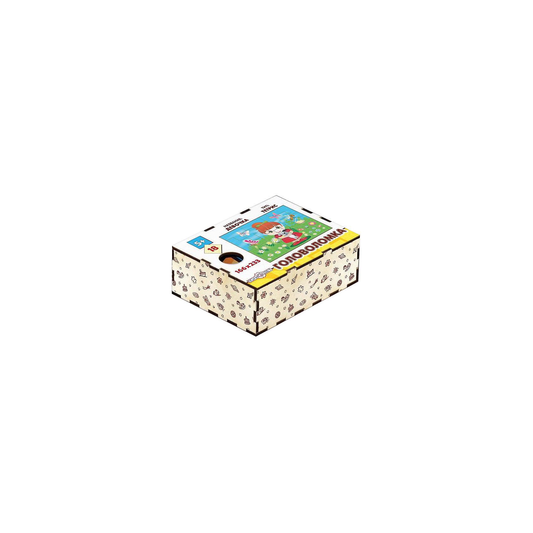 Головоломка Тетрис. Девочка, ПолноцветДеревянные головоломки<br>Характеристики:<br><br>• возраст: от 5 лет;<br>• количество деталей: 18;<br>• материал: фанера березовая шлифованная ФК, 3 мм;<br>• размер головоломки: 16,6х23,3х0,3 см;<br>• вес: 150 г;<br>• краска: УФ краска;<br>• тип упаковки: деревянная коробка открытого типа, термоусадка.<br><br>Интересный пазл из деталей необычной формы, как в игре «Тетрис», надолго увлечет малышей. Мальчикам и девочкам потребуется проявить максимум внимательности и усидчивости, чтобы собрать красочную картинку с милой девочкой.<br><br>Деревянная головоломка с высококачественной печатью имеет высокий срок службы. <br><br>Игрушка рекомендована для детских садов и центров, а также для домашнего использования.<br><br>Головоломку «Тетрис. Девочка», Полноцвет можно приобрести в нашем интернет-магазине.<br><br>Ширина мм: 30<br>Глубина мм: 230<br>Высота мм: 170<br>Вес г: 150<br>Возраст от месяцев: 36<br>Возраст до месяцев: 2147483647<br>Пол: Унисекс<br>Возраст: Детский<br>SKU: 7025970