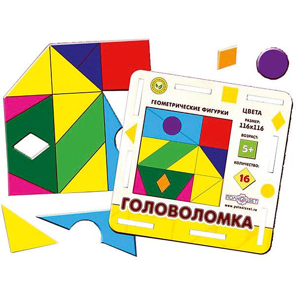 Головоломка  геометрическая Фигуры, полноцветКлассические головоломки<br>Характеристики:<br><br>• возраст: от 5 лет;<br>• количество деталей: 16;<br>• материал: фанера березовая шлифованная ФК, 3 мм;<br>• размер упаковки: 14х14х1,2 см;<br>• размер головоломки: 11,6х11,6 см;<br>• вес: 110 г;<br>• краска: УФ краска;<br>• тип упаковки: термоусадка.<br><br>Интересный пазл из деталей в форме геометрических фигур надолго увлечет малышей. Мальчикам и девочкам потребуется проявить максимум внимательности и усидчивости, чтобы собрать красочные детали в квадрат и поместить их в рамке.<br><br>Деревянная головоломка с высококачественной печатью имеет высокий срок службы. <br><br>Игрушка рекомендована для детских садов и центров, а также для домашнего использования.<br><br>Головоломку геометрическую «Фигуры», Полноцвет можно приобрести в нашем интернет-магазине.<br><br>Ширина мм: 140<br>Глубина мм: 140<br>Высота мм: 10<br>Вес г: 110<br>Возраст от месяцев: 36<br>Возраст до месяцев: 2147483647<br>Пол: Унисекс<br>Возраст: Детский<br>SKU: 7025974