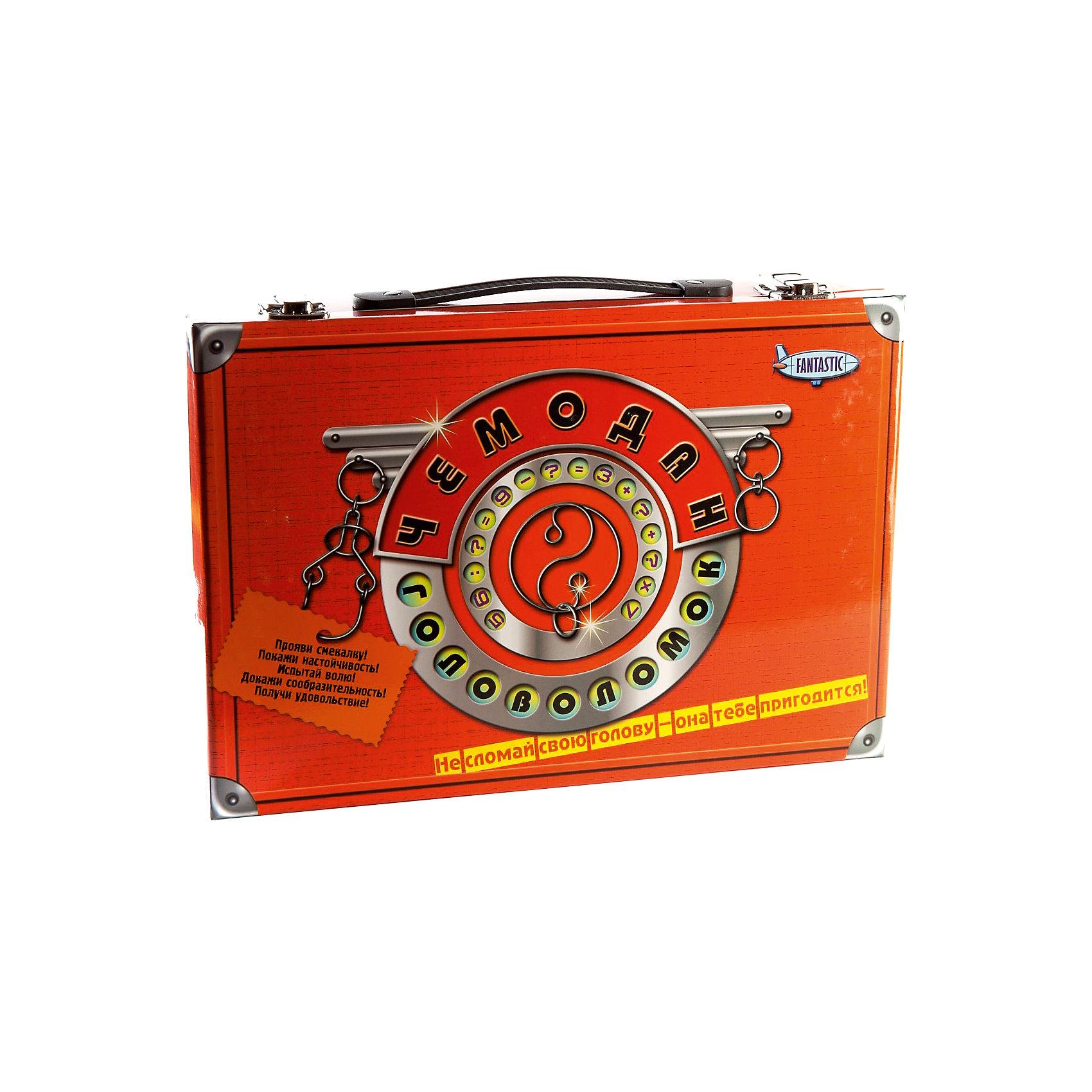 Чемодан головоломок, FantasticЖелезные головоломки<br>Характеристики:<br><br>• возраст: от 5 лет;<br>• материал: картон, пластик, металл, дерево;<br>• размер упаковки: 33х23х7 см;<br>• вес: 880 г;<br>• тип упаковки: пластиковый чемодан с ручкой.<br><br>Большой набор головоломок, упакованных в подарочный чемоданчик, понравится маленьким исследователям. Игра подходит для мальчиков и девочек. Головоломки отличаются по сложности и способу складывания. <br><br>В компект входит:<br><br>• 2 книги;<br>• 5 металлических головоломок (2 деревянные, 2 с веревками и 1 с шариками); <br>• 8 открыток-пазлов;<br>• блокнот с играми;<br>• карандаш;<br>• песочные часы.<br><br>«Чемодан головоломок», Fantastic можно приобрести в нашем интернет-магазине.<br><br>Ширина мм: 62<br>Глубина мм: 325<br>Высота мм: 222<br>Вес г: 880<br>Возраст от месяцев: 36<br>Возраст до месяцев: 2147483647<br>Пол: Унисекс<br>Возраст: Детский<br>SKU: 7025975