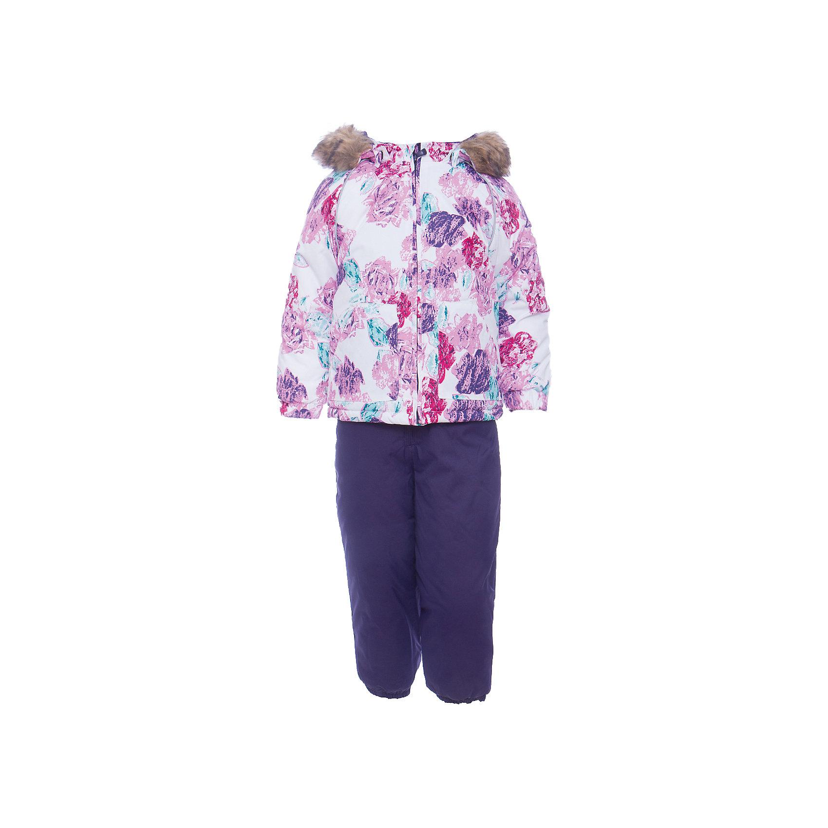 Комплект: куртка и брюки AVERY HuppaКомплекты<br>Характеристика товара:<br><br>• цвет: белый фиолетовый<br>• температурный режим: от -0 до-30;<br>• утеплитель: куртка:300 грамм, брюки:160 грамм(100% полиэстер);<br>• подкладка: 100% хлопок;<br>• воздухопроницаемость: 5 000 мм куртка / 10 000 мм брюки;<br>• водонепроницаемость:  5 000 мм куртка / 10 000 мм брюки;<br>• застежка: молния;<br>• меховая опушка из искуственного меха;<br>• шаговый шов – проклеен;<br>• капюшон съемный;<br>• подтяжки на полукомбинезоне – резинки;<br>• светоотражающие детали;<br>• производитель: HUPPA (Эстония)<br><br>Красивый зимний комплект AVERY для детей младшего возраста. Легкая, но очень теплая куртка из мягкой мембранной ткани не содержит лишних деталей. В модели 300 грамм утеплителя, а значит, вы можете быть уверены, что ваш малыш не замерзнет на прогулке в морозную погоду, даже если будет двигаться не слишком активно. Комплект для малышей AVERY благодаря простым манжетам на резинке и удобной молнии легко надевать и застегивать. Капюшон с меховой опушкой сделан в форме забавного колпачка и при желании отстегивается. <br><br>Практичный однотонный полукомбинезон темного цвета выполнен из более прочной мембраны и скроен без внутренних швов, для лучшей защиты от истирания и попадания влаги. Задний шов проклеен, также для дополнительной защиты от влаги. Манжеты по низу брюк и тканевые штрипки на ботинки надежно фиксируют брюки и защищают от попадания снега. На костюмах AVERY светоотражающие элементы делают вашего ребенка более заметным на улице, даже в условиях плохой видимости и в темное время суток.<br><br>Комплект для малышей AVERY можно купить в нашем интернет-магазине.<br><br>Ширина мм: 356<br>Глубина мм: 10<br>Высота мм: 245<br>Вес г: 519<br>Цвет: белый<br>Возраст от месяцев: 12<br>Возраст до месяцев: 15<br>Пол: Унисекс<br>Возраст: Детский<br>Размер: 80,104,98,92,86<br>SKU: 7026952