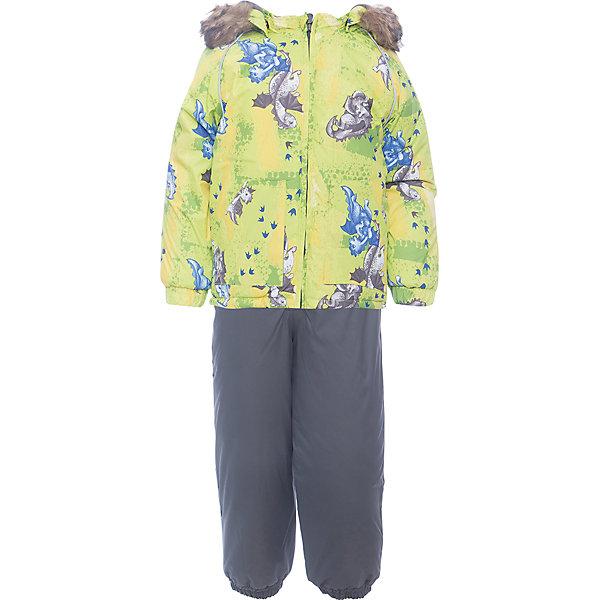 Комплект: куртка и брюки AVERY Huppa для мальчикаКомплекты<br>Характеристика товара:<br><br>• цвет: серо-зеленый<br>• температурный режим: от -0 до-30;<br>• утеплитель: куртка:300 грамм, брюки:160 грамм(100% полиэстер);<br>• подкладка: 100% хлопок;<br>• воздухопроницаемость: 5 000 мм куртка / 10 000 мм брюки;<br>• водонепроницаемость:  5 000 мм куртка / 10 000 мм брюки;<br>• застежка: молния;<br>• меховая опушка из искуственного меха;<br>• шаговый шов – проклеен;<br>• капюшон съемный;<br>• подтяжки на полукомбинезоне – резинки;<br>• светоотражающие детали;<br>• производитель: HUPPA (Эстония)<br><br>Красивый зимний комплект AVERY для детей младшего возраста. Легкая, но очень теплая куртка из мягкой мембранной ткани не содержит лишних деталей. В модели 300 грамм утеплителя, а значит, вы можете быть уверены, что ваш малыш не замерзнет на прогулке в морозную погоду, даже если будет двигаться не слишком активно. Комплект для малышей AVERY благодаря простым манжетам на резинке и удобной молнии легко надевать и застегивать. Капюшон с меховой опушкой сделан в форме забавного колпачка и при желании отстегивается. <br><br>Практичный однотонный полукомбинезон темного цвета выполнен из более прочной мембраны и скроен без внутренних швов, для лучшей защиты от истирания и попадания влаги. Задний шов проклеен, также для дополнительной защиты от влаги. Манжеты по низу брюк и тканевые штрипки на ботинки надежно фиксируют брюки и защищают от попадания снега. На костюмах AVERY светоотражающие элементы делают вашего ребенка более заметным на улице, даже в условиях плохой видимости и в темное время суток.<br><br>Комплект для малышей AVERY можно купить в нашем интернет-магазине.<br>Ширина мм: 356; Глубина мм: 10; Высота мм: 245; Вес г: 519; Цвет: зеленый; Возраст от месяцев: 36; Возраст до месяцев: 48; Пол: Мужской; Возраст: Детский; Размер: 104,80,86,92,98; SKU: 7026982;