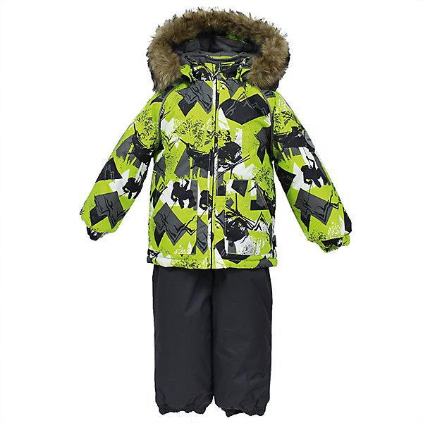 Комплект: куртка и брюки AVERY Huppa для мальчикаВерхняя одежда<br>Характеристика товара:<br><br>• цвет: зеленый с серым<br>• температурный режим: от -0 до-30;<br>• утеплитель: куртка:300 грамм, брюки:160 грамм(100% полиэстер);<br>• подкладка: 100% хлопок;<br>• воздухопроницаемость: 5 000 мм куртка / 10 000 мм брюки;<br>• водонепроницаемость:  5 000 мм куртка / 10 000 мм брюки;<br>• застежка: молния;<br>• меховая опушка из искуственного меха;<br>• шаговый шов – проклеен;<br>• капюшон съемный;<br>• подтяжки на полукомбинезоне – резинки;<br>• светоотражающие детали;<br>• производитель: HUPPA (Эстония)<br><br>Красивый зимний комплект AVERY для детей младшего возраста. Легкая, но очень теплая куртка из мягкой мембранной ткани не содержит лишних деталей. В модели 300 грамм утеплителя, а значит, вы можете быть уверены, что ваш малыш не замерзнет на прогулке в морозную погоду, даже если будет двигаться не слишком активно. Комплект для малышей AVERY благодаря простым манжетам на резинке и удобной молнии легко надевать и застегивать. Капюшон с меховой опушкой сделан в форме забавного колпачка и при желании отстегивается. <br><br>Практичный однотонный полукомбинезон темного цвета выполнен из более прочной мембраны и скроен без внутренних швов, для лучшей защиты от истирания и попадания влаги. Задний шов проклеен, также для дополнительной защиты от влаги. Манжеты по низу брюк и тканевые штрипки на ботинки надежно фиксируют брюки и защищают от попадания снега. На костюмах AVERY светоотражающие элементы делают вашего ребенка более заметным на улице, даже в условиях плохой видимости и в темное время суток.<br><br>Комплект для малышей AVERY можно купить в нашем интернет-магазине.<br><br>Ширина мм: 356<br>Глубина мм: 10<br>Высота мм: 245<br>Вес г: 519<br>Цвет: зеленый<br>Возраст от месяцев: 12<br>Возраст до месяцев: 15<br>Пол: Мужской<br>Возраст: Детский<br>Размер: 80,104,86,92,98<br>SKU: 7026994