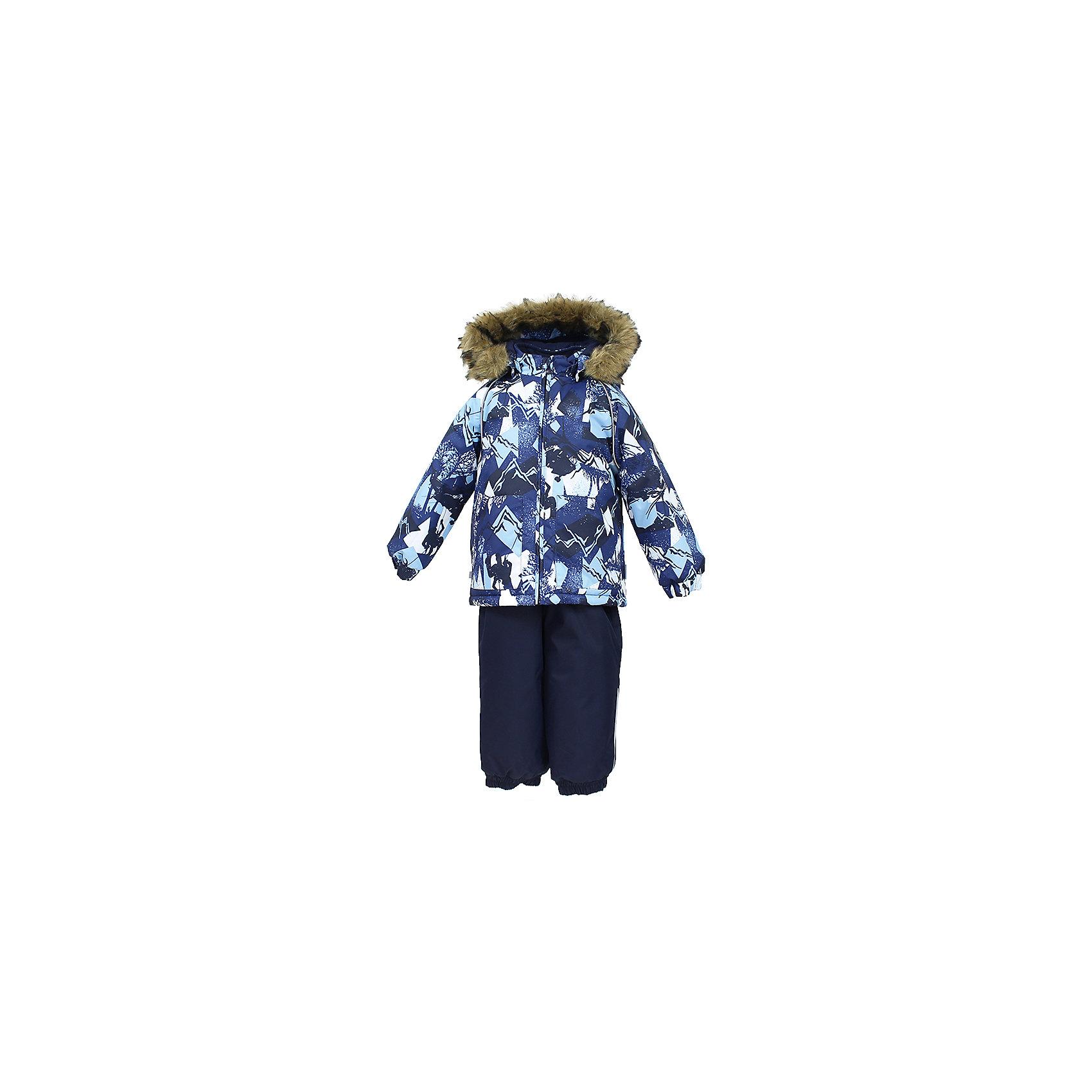 Комплект: куртка и брюки AVERY HuppaКомплекты<br>Характеристика товара:<br><br>• цвет: синий<br>• температурный режим: от -0 до-30;<br>• утеплитель: куртка:300 грамм, брюки:160 грамм(100% полиэстер);<br>• подкладка: 100% хлопок;<br>• воздухопроницаемость: 5 000 мм куртка / 10 000 мм брюки;<br>• водонепроницаемость:  5 000 мм куртка / 10 000 мм брюки;<br>• застежка: молния;<br>• меховая опушка из искуственного меха;<br>• шаговый шов – проклеен;<br>• капюшон съемный;<br>• подтяжки на полукомбинезоне – резинки;<br>• светоотражающие детали;<br>• производитель: HUPPA (Эстония)<br><br>Красивый зимний комплект AVERY для детей младшего возраста. Легкая, но очень теплая куртка из мягкой мембранной ткани не содержит лишних деталей. В модели 300 грамм утеплителя, а значит, вы можете быть уверены, что ваш малыш не замерзнет на прогулке в морозную погоду, даже если будет двигаться не слишком активно. Комплект для малышей AVERY благодаря простым манжетам на резинке и удобной молнии легко надевать и застегивать. Капюшон с меховой опушкой сделан в форме забавного колпачка и при желании отстегивается. <br><br>Практичный однотонный полукомбинезон темного цвета выполнен из более прочной мембраны и скроен без внутренних швов, для лучшей защиты от истирания и попадания влаги. Задний шов проклеен, также для дополнительной защиты от влаги. Манжеты по низу брюк и тканевые штрипки на ботинки надежно фиксируют брюки и защищают от попадания снега. На костюмах AVERY светоотражающие элементы делают вашего ребенка более заметным на улице, даже в условиях плохой видимости и в темное время суток.<br><br>Комплект для малышей AVERY можно купить в нашем интернет-магазине.<br><br>Ширина мм: 356<br>Глубина мм: 10<br>Высота мм: 245<br>Вес г: 519<br>Цвет: синий<br>Возраст от месяцев: 36<br>Возраст до месяцев: 48<br>Пол: Унисекс<br>Возраст: Детский<br>Размер: 104,80,86,92,98<br>SKU: 7027006