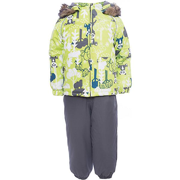 Комплект: куртка и брюки AVERY Huppa для мальчикаВерхняя одежда<br>Характеристика товара:<br><br>• цвет: серый с принтом<br>• температурный режим: от -0 до-30;<br>• утеплитель: куртка:300 грамм, брюки:160 грамм(100% полиэстер);<br>• подкладка: 100% хлопок;<br>• воздухопроницаемость: 5 000 мм куртка / 10 000 мм брюки;<br>• водонепроницаемость:  5 000 мм куртка / 10 000 мм брюки;<br>• застежка: молния;<br>• меховая опушка из искуственного меха;<br>• шаговый шов – проклеен;<br>• капюшон съемный;<br>• подтяжки на полукомбинезоне – резинки;<br>• светоотражающие детали;<br>• производитель: HUPPA (Эстония)<br><br>Красивый зимний комплект AVERY для детей младшего возраста. Легкая, но очень теплая куртка из мягкой мембранной ткани не содержит лишних деталей. В модели 300 грамм утеплителя, а значит, вы можете быть уверены, что ваш малыш не замерзнет на прогулке в морозную погоду, даже если будет двигаться не слишком активно. Комплект для малышей AVERY благодаря простым манжетам на резинке и удобной молнии легко надевать и застегивать. Капюшон с меховой опушкой сделан в форме забавного колпачка и при желании отстегивается. <br><br>Практичный однотонный полукомбинезон темного цвета выполнен из более прочной мембраны и скроен без внутренних швов, для лучшей защиты от истирания и попадания влаги. Задний шов проклеен, также для дополнительной защиты от влаги. Манжеты по низу брюк и тканевые штрипки на ботинки надежно фиксируют брюки и защищают от попадания снега. На костюмах AVERY светоотражающие элементы делают вашего ребенка более заметным на улице, даже в условиях плохой видимости и в темное время суток.<br><br>Комплект для малышей AVERY можно купить в нашем интернет-магазине.<br>Ширина мм: 356; Глубина мм: 10; Высота мм: 245; Вес г: 519; Цвет: зеленый; Возраст от месяцев: 12; Возраст до месяцев: 15; Пол: Мужской; Возраст: Детский; Размер: 80,104,98,92,86; SKU: 7027024;