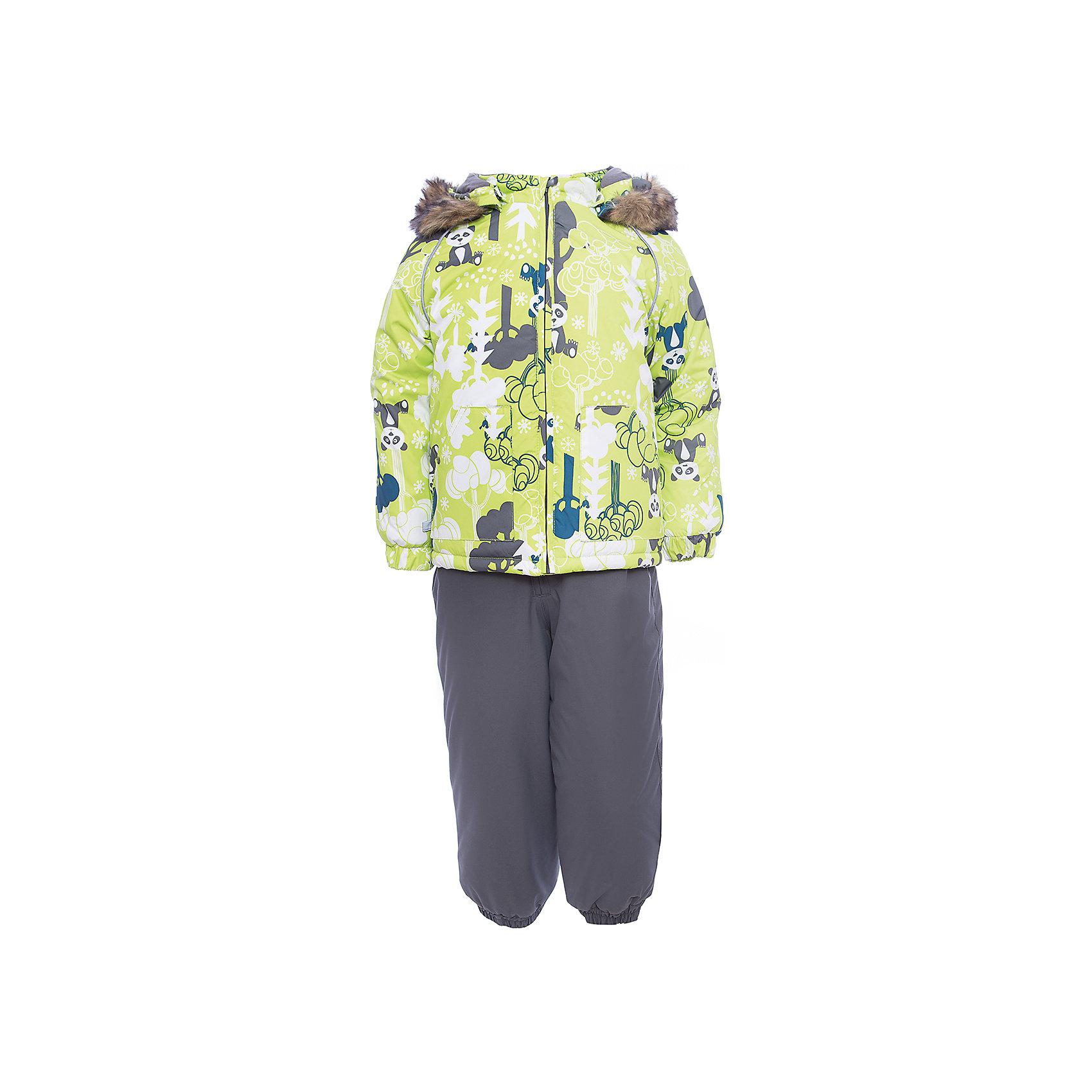 Комплект: куртка и брюки AVERY HuppaВерхняя одежда<br>Характеристика товара:<br><br>• цвет: серый с принтом<br>• температурный режим: от -0 до-30;<br>• утеплитель: куртка:300 грамм, брюки:160 грамм(100% полиэстер);<br>• подкладка: 100% хлопок;<br>• воздухопроницаемость: 5 000 мм куртка / 10 000 мм брюки;<br>• водонепроницаемость:  5 000 мм куртка / 10 000 мм брюки;<br>• застежка: молния;<br>• меховая опушка из искуственного меха;<br>• шаговый шов – проклеен;<br>• капюшон съемный;<br>• подтяжки на полукомбинезоне – резинки;<br>• светоотражающие детали;<br>• производитель: HUPPA (Эстония)<br><br>Красивый зимний комплект AVERY для детей младшего возраста. Легкая, но очень теплая куртка из мягкой мембранной ткани не содержит лишних деталей. В модели 300 грамм утеплителя, а значит, вы можете быть уверены, что ваш малыш не замерзнет на прогулке в морозную погоду, даже если будет двигаться не слишком активно. Комплект для малышей AVERY благодаря простым манжетам на резинке и удобной молнии легко надевать и застегивать. Капюшон с меховой опушкой сделан в форме забавного колпачка и при желании отстегивается. <br><br>Практичный однотонный полукомбинезон темного цвета выполнен из более прочной мембраны и скроен без внутренних швов, для лучшей защиты от истирания и попадания влаги. Задний шов проклеен, также для дополнительной защиты от влаги. Манжеты по низу брюк и тканевые штрипки на ботинки надежно фиксируют брюки и защищают от попадания снега. На костюмах AVERY светоотражающие элементы делают вашего ребенка более заметным на улице, даже в условиях плохой видимости и в темное время суток.<br><br>Комплект для малышей AVERY можно купить в нашем интернет-магазине.<br><br>Ширина мм: 356<br>Глубина мм: 10<br>Высота мм: 245<br>Вес г: 519<br>Цвет: зеленый<br>Возраст от месяцев: 36<br>Возраст до месяцев: 48<br>Пол: Унисекс<br>Возраст: Детский<br>Размер: 104,80,86,92,98<br>SKU: 7027024