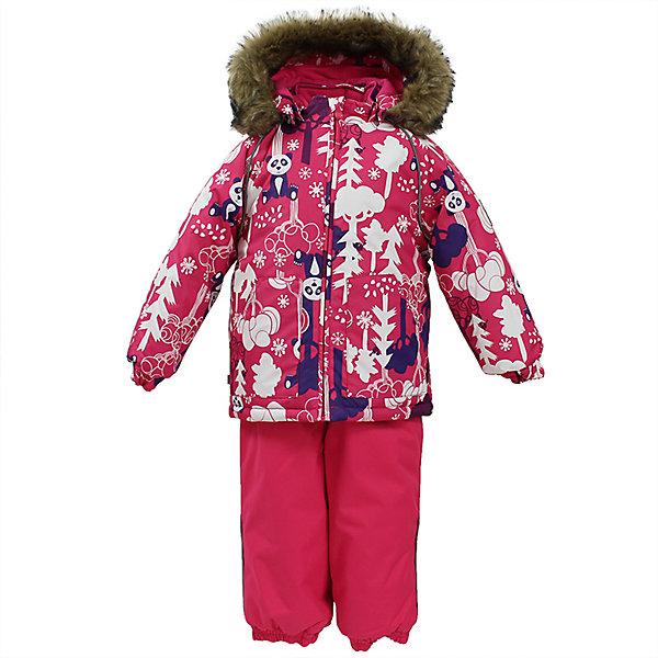 Комплект: куртка и брюки AVERY Huppa для девочкиВерхняя одежда<br>Характеристика товара:<br><br>• цвет: фуксия с принтом<br>• температурный режим: от -0 до-30;<br>• утеплитель: куртка:300 грамм, брюки:160 грамм(100% полиэстер);<br>• подкладка: 100% хлопок;<br>• воздухопроницаемость: 5 000 мм куртка / 10 000 мм брюки;<br>• водонепроницаемость:  5 000 мм куртка / 10 000 мм брюки;<br>• застежка: молния;<br>• меховая опушка из искуственного меха;<br>• шаговый шов – проклеен;<br>• капюшон съемный;<br>• подтяжки на полукомбинезоне – резинки;<br>• светоотражающие детали;<br>• производитель: HUPPA (Эстония)<br><br>Красивый зимний комплект AVERY для детей младшего возраста. Легкая, но очень теплая куртка из мягкой мембранной ткани не содержит лишних деталей. В модели 300 грамм утеплителя, а значит, вы можете быть уверены, что ваш малыш не замерзнет на прогулке в морозную погоду, даже если будет двигаться не слишком активно. Комплект для малышей AVERY благодаря простым манжетам на резинке и удобной молнии легко надевать и застегивать. Капюшон с меховой опушкой сделан в форме забавного колпачка и при желании отстегивается. <br><br>Практичный однотонный полукомбинезон темного цвета выполнен из более прочной мембраны и скроен без внутренних швов, для лучшей защиты от истирания и попадания влаги. Задний шов проклеен, также для дополнительной защиты от влаги. Манжеты по низу брюк и тканевые штрипки на ботинки надежно фиксируют брюки и защищают от попадания снега. На костюмах AVERY светоотражающие элементы делают вашего ребенка более заметным на улице, даже в условиях плохой видимости и в темное время суток.<br><br>Комплект для малышей AVERY можно купить в нашем интернет-магазине.<br>Ширина мм: 356; Глубина мм: 10; Высота мм: 245; Вес г: 519; Цвет: фуксия; Возраст от месяцев: 12; Возраст до месяцев: 18; Пол: Женский; Возраст: Детский; Размер: 86,80,92,98,104; SKU: 7027030;