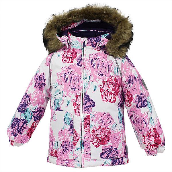 Куртка VIRGO Huppa для девочкиВерхняя одежда<br>Характеристики товара:<br><br>• цвет: белый принт;<br>• пол: девочка;<br>• состав: 100% полиэстер;<br>• утеплитель: полиэстер 300 гр.;<br>• подкладка: фланель 100% хлопок;<br>• сезон: зима;<br>• температурный режим: от -5 до - 30С;<br>• водонепроницаемость: 10000 мм ;<br>• воздухопроницаемость:10000 г/м2/24ч;<br>• особенности модели: c рисунком; с мехом на капюшоне;<br>• манжеты рукавов эластичные, на резинках;<br>• безопасный капюшон крепится на кнопки и, при необходимости, отстегивается;<br>• мех на капюшоне не съемный;<br>• светоотражающие элементы для безопасности ребенка;<br>• страна бренда: Финляндия;<br>• страна изготовитель: Эстония.<br><br>Зимняя куртка с капюшоном для девочки. Все швы проклеены и водонепроницаемы, а сама она изготовлена из водо и ветронепроницаемого, грязеотталкивающего материала.<br><br>Съемный капюшон защищает от ветра, к тому же он абсолютно безопасен – легко отстегнется, если вдруг за что-нибудь зацепится. Обратите внимание: куртку можно сушить в сушильной машине. Зимняя куртка на молнии для девочки декорирована рисунком.<br><br>Зимнюю куртку Virgo для девочки фирмы HUPPA  можно купить в нашем интернет-магазине.<br>Ширина мм: 356; Глубина мм: 10; Высота мм: 245; Вес г: 519; Цвет: розовый/белый; Возраст от месяцев: 36; Возраст до месяцев: 48; Пол: Женский; Возраст: Детский; Размер: 104,80,86,92,98; SKU: 7027210;