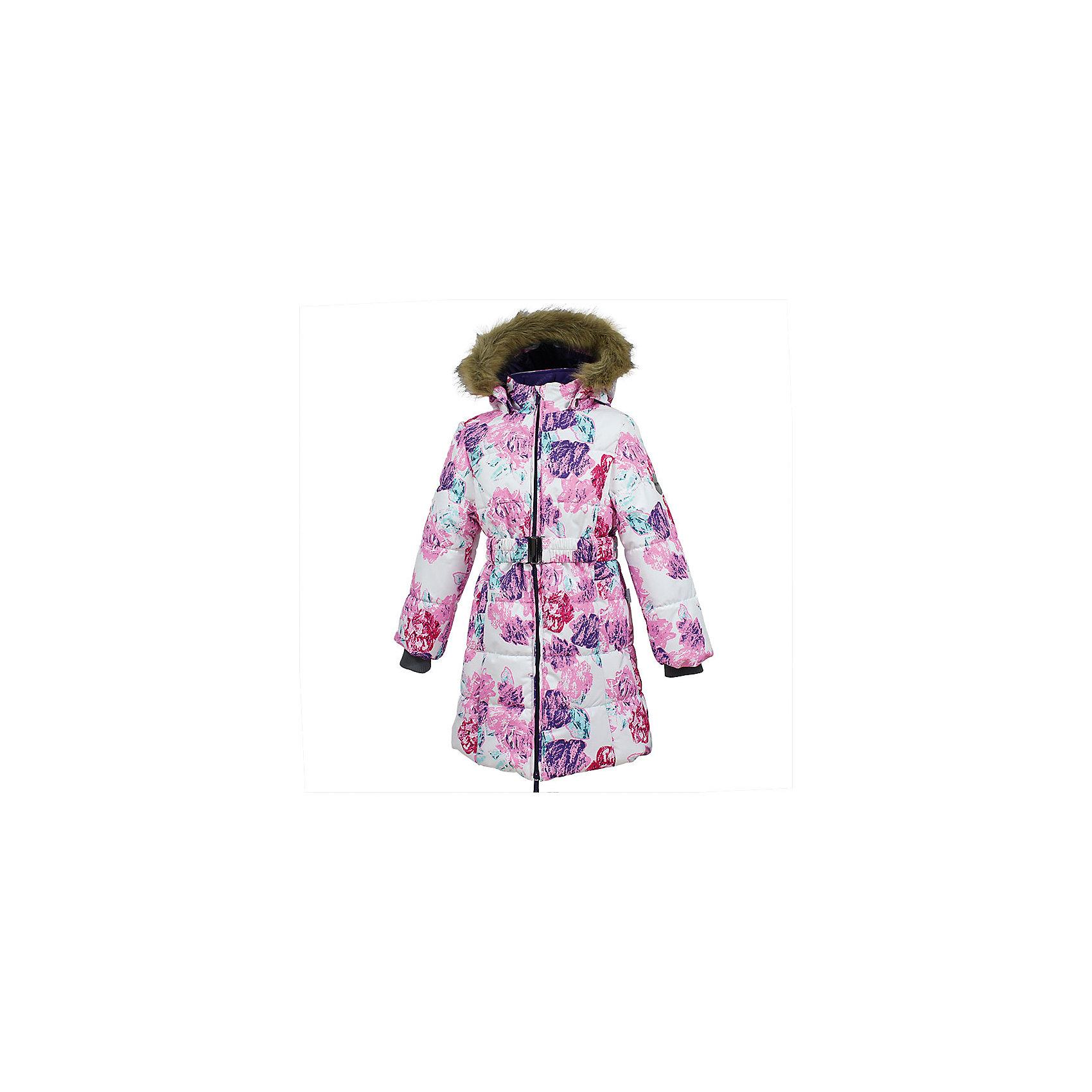 Пальто YACARANDA Huppa для девочкиЗимние куртки<br>Характеристики товара:<br><br>• цвет: бело-розовое;<br>• состав: 100% полиэстер;<br>• утеплитель: полиэстер 300 гр.;<br>• подкладка: тафта, флис;<br>• сезон: зима;<br>• температурный режим: от -5 до - 30С;<br>• водонепроницаемость: 10000 мм ;<br>• воздухопроницаемость:10000 г/м2/24ч;<br>• особенности модели: с мехом на капюшоне;<br>• трикотажные манжеты;<br>• безопасный капюшон крепится на кнопки и, при необходимости, отстегивается;<br>• мех на капюшоне не съемный;<br>• защита подбородка от защемления;<br>• светоотражающие элементы для безопасности ребенка;<br>• страна бренда: Финляндия;<br>• страна изготовитель: Эстония.<br><br>Теплое зимнее пальто для девочек. Это универсальная недорогая модель подойдет как для школы, так и для долгих зимних прогулок. Современный утеплитель HuppaTherm отлично греет даже при очень низких температурах а высококачественная мембрана не пропускает влагу, ветер и снег. <br><br>Приталенный силуэт подчеркнут поясом на застежке. На рукавах есть внутренние манжеты из трикотажа, которые плотно облегают запястья для дополнительного тепла и защиты от продувания. Капюшон на кнопках дополнен опушкой из искусственного меха.<br><br>Функциональные элементы: капюшон отстегивается с помощью кнопок, мех не отстегивается, защита подбородка от защемления, карманы без застежек, трикотажные манжеты, светоотражающие элементы. <br><br>Зимнее пальто Yacaranda для девочки фирмы HUPPA  можно купить в нашем интернет-магазине.<br><br>Ширина мм: 356<br>Глубина мм: 10<br>Высота мм: 245<br>Вес г: 519<br>Цвет: белый<br>Возраст от месяцев: 168<br>Возраст до месяцев: 180<br>Пол: Женский<br>Возраст: Детский<br>Размер: 170,134,140,146,152,158,164,104,110,116,122,128<br>SKU: 7027453