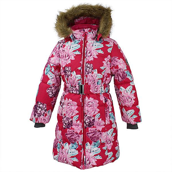 Пальто YACARANDA Huppa для девочкиПальто и плащи<br>Характеристики товара:<br><br>• цвет: фуксия принт;<br>• пол: девочка;<br>• состав: 100% полиэстер;<br>• утеплитель: полиэстер 300 гр.;<br>• подкладка: тафта, флис;<br>• сезон: зима;<br>• температурный режим: от -5 до - 30С;<br>• водонепроницаемость: 10000 мм ;<br>• воздухопроницаемость:10000 г/м2/24ч;<br>• особенности модели: с мехом на капюшоне;<br>• трикотажные манжеты;<br>• безопасный капюшон крепится на кнопки и, при необходимости, отстегивается;<br>• мех на капюшоне не съемный;<br>• защита подбородка от защемления;<br>• светоотражающие элементы для безопасности ребенка;<br>• страна бренда: Финляндия;<br>• страна изготовитель: Эстония.<br><br>Теплое зимнее пальто для девочек. Это универсальная недорогая модель подойдет как для школы, так и для долгих зимних прогулок. Современный утеплитель HuppaTherm отлично греет даже при очень низких температурах а высококачественная мембрана не пропускает влагу, ветер и снег. <br><br>Приталенный силуэт подчеркнут поясом на застежке. На рукавах есть внутренние манжеты из трикотажа, которые плотно облегают запястья для дополнительного тепла и защиты от продувания. Капюшон на кнопках дополнен опушкой из искусственного меха.<br><br>Функциональные элементы: капюшон отстегивается с помощью кнопок, мех не отстегивается, защита подбородка от защемления, карманы без застежек, трикотажные манжеты, светоотражающие элементы. <br><br>Зимнее пальто Yacaranda для девочки фирмы HUPPA  можно купить в нашем интернет-магазине.<br>Ширина мм: 356; Глубина мм: 10; Высота мм: 245; Вес г: 519; Цвет: розовый; Возраст от месяцев: 36; Возраст до месяцев: 48; Пол: Женский; Возраст: Детский; Размер: 104,170,164,158,152,146,140,134,128,122,116,110; SKU: 7027466;
