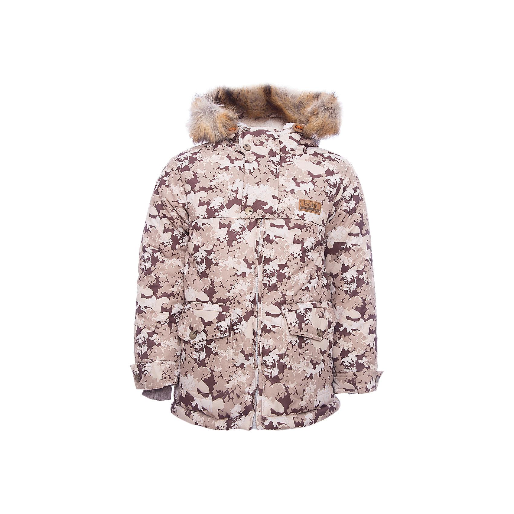 Куртка Бойд Batik для мальчикаВерхняя одежда<br>Характеристики товара:<br><br>• цвет: серый<br>• состав ткани: Poly 051 lamination <br>• подкладка: мех подкладочный под овчину <br>• утеплитель: термофин<br>• сезон: зима<br>• мембранное покрытие<br>• температурный режим: от -35 до 0<br>• водонепроницаемость: 5000 мм <br>• паропроницаемость: 5000 г/м2<br>• плотность утеплителя: 300 г/м2<br>• застежка: молния<br>• капюшон: с мехом<br>• страна бренда: Россия<br>• страна изготовитель: Россия<br><br>Детская зимняя куртка стильная и теплая. Мембранное покрытие детской куртки не задерживает воздух, но защищает от влаги, ветра и холода. Модная куртка Batik для мальчика рассчитана даже на сильные морозы. Детская куртка от бренда Batik отличается продуманным дизайном. <br><br>Куртку Бойд Batik (Батик) для мальчика можно купить в нашем интернет-магазине.<br><br>Ширина мм: 356<br>Глубина мм: 10<br>Высота мм: 245<br>Вес г: 519<br>Цвет: коричневый<br>Возраст от месяцев: 72<br>Возраст до месяцев: 84<br>Пол: Мужской<br>Возраст: Детский<br>Размер: 122,92,98,104,110,116<br>SKU: 7028059