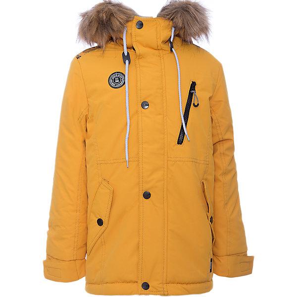 Куртка Игнат Batik для мальчикаВерхняя одежда<br>Характеристики товара:<br><br>• цвет: горчичный<br>• состав ткани: таслан<br>• подкладка: поларфлис<br>• утеплитель: слайтекс<br>• сезон: зима<br>• мембранное покрытие<br>• температурный режим: от -35 до 0<br>• водонепроницаемость: 5000 мм <br>• паропроницаемость: 5000 г/м2<br>• плотность утеплителя: 300 г/м2<br>• застежка: молния<br>• капюшон: с мехом, несъемный<br>• страна бренда: Россия<br>• страна изготовитель: Россия<br><br>Такая зимняя куртка Batik для мальчика благодаря мембранному покрытию подходит для ношения в сильные морозы. Детская куртка от бренда Batik отличается удобным капюшоном и карманами. Мембранная зимняя куртка стильная и теплая. Зимой обеспечить ребенку защиту от мороза, влаги и ветра поможет теплая детская куртка. <br><br>Куртку Игнат Batik (Батик) для мальчика можно купить в нашем интернет-магазине.<br><br>Ширина мм: 356<br>Глубина мм: 10<br>Высота мм: 245<br>Вес г: 519<br>Цвет: желтый<br>Возраст от месяцев: 144<br>Возраст до месяцев: 156<br>Пол: Мужской<br>Возраст: Детский<br>Размер: 152,158,128,134,140,146<br>SKU: 7028487