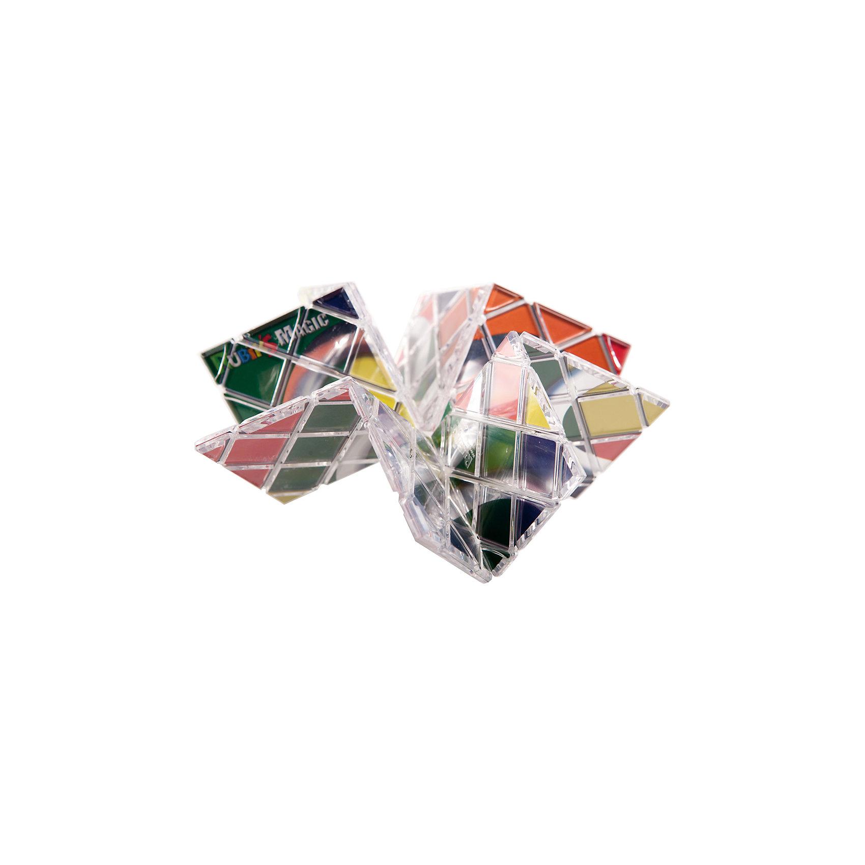 Головоломка-трансформер Магия,  RubiksГоловоломки Кубик Рубика<br>Характеристики:<br><br>• возраст: от 7 лет;<br>• сложность игры: 1/5;<br>• материал: пластик;<br>• комплект: головоломка, инструкция по сборке на русском языке;<br>• количество игроков: 1;<br>• время игры: 30 мин.;<br>• размер упаковки 5х10х5 см;<br>• вес упаковки 200 г.;<br>• тип упаковки: двойной блистер; <br>• размер игрушки: 21х10,5х0,4 см.<br><br>Необычная головоломка состоит из 8 квадратных панелей, которые образуют прямоугольную пластину с рисунком в виде трех колец, когда головоломка правильно собрана. Панели связаны между собой леской, поэтому головоломку можно гнуть, крутить и сворачивать в различных направлениях.<br><br>Цель игры – собрать осмысленный рисунок на одной из сторон пластины или построить трехмерную фигуру из ее панелей. Игра развивает творческие способности, смекалку, сообразительность, внимательность.<br><br>Головоломку-трансформер «Магия», Rubiks можно приобрести в нашем интернет-магазине.<br><br>Ширина мм: 165<br>Глубина мм: 85<br>Высота мм: 230<br>Вес г: 300<br>Возраст от месяцев: 84<br>Возраст до месяцев: 2147483647<br>Пол: Унисекс<br>Возраст: Детский<br>SKU: 7028995