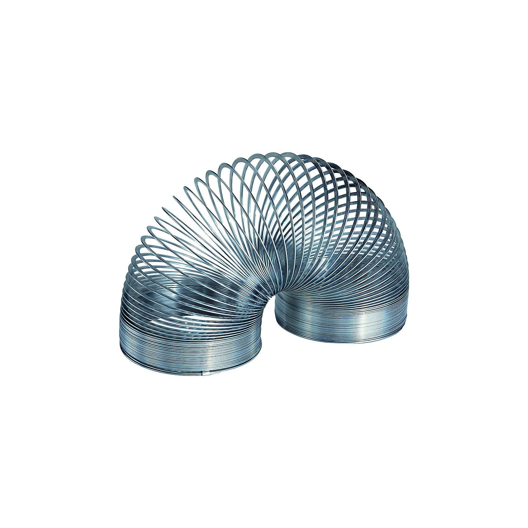 Пружинка металлическая серебрянная,SlinkyРазвивающие игрушки<br>Характеристики:<br><br>• возраст: от 3 лет;<br>• цвет: серебро;<br>• сложность игры: 1/5;<br>• материал: белая пружинная сталь;<br>• количество игроков: 1;<br>• время игры: 10 мин.;<br>• размер пружинки: 5,7х7,3 см;<br>• вес упаковки: 215 г.;<br>• тип упаковки: картонная коробка с демо-окошком;<br>• размер упаковки: 3х3,5х7 см.<br>  <br>Металлическая пружинка «Слинки Ориджинал» - классическая игрушка для мальчиков и девочек.<br><br>Специальный плоский профиль витков обеспечивает плавный и мягкий эффект перекатывания исключает возможность случайного запутывания во время игры. Эта пружинка «шагает» по лестнице, благодаря большему весу и упругости по сравнению с пластиковыми Slinky.<br><br>Пружинку металлическую, Slinky можно приобрести в нашем интернет-магазине.<br><br>Ширина мм: 77<br>Глубина мм: 77<br>Высота мм: 60<br>Вес г: 350<br>Возраст от месяцев: 60<br>Возраст до месяцев: 2147483647<br>Пол: Унисекс<br>Возраст: Детский<br>SKU: 7028999