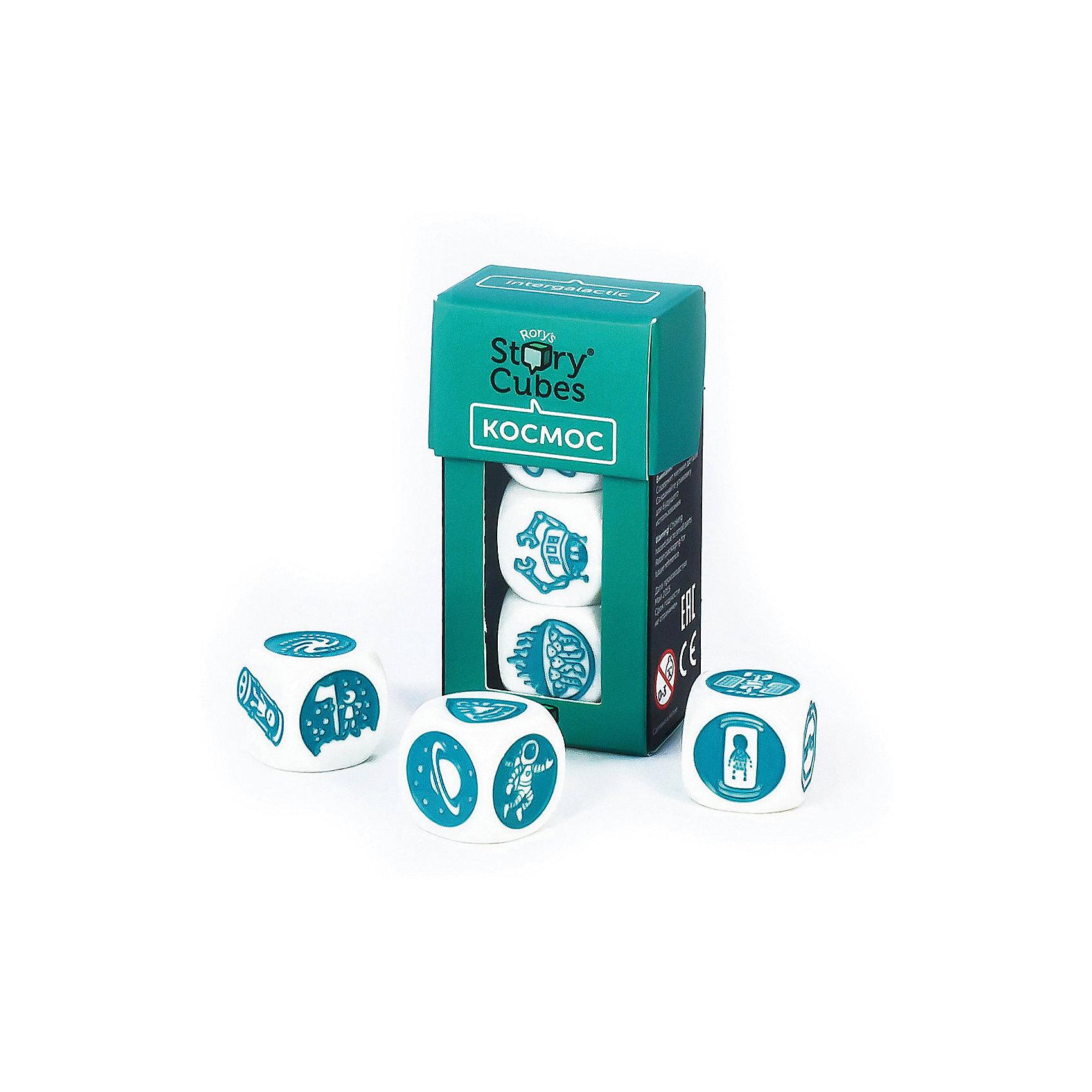 Настольная Игра Кубики Историй, доп. Набор КОСМОС (3 кубика)Игры в дорогу<br>Характеристики:<br><br>• возраст: от 6 лет;<br>• сложность игры: средний уровень;<br>• материал: картон, пластик;<br>• количество игроков: 2-6;<br>• время игры: 30 мин.;<br>• вес упаковки: 40 г.;<br>• тип упаковки: цветная картонная коробка;<br>• размер упаковки: 3х3,5х7 см.<br>  <br>Дополнительные кубики с картинками на тему «Космос» сделают рассказывание историй еще более интересным.<br><br>3 кубика набора «Космос» нужно добавить в основной набор Кубиков Историй, убрав при этом 3 других кубика. Либо, можно собрать свой собственный набор из 9 кубиков, состоящий из 3 мини-наборов.<br><br>Кубики Историй помогают развитию речи, учат формулировать мысли и продумывать структуру рассказа.        <br> <br> В комплекте: <br>• 3 кубика;<br>• картонная коробочка-контейнер.      <br><br>Настольную игру «Кубики Историй. Дополнительный набор «Космос» (3 кубика)» можно приобрести в нашем интернет-магазине.<br><br>Ширина мм: 35<br>Глубина мм: 30<br>Высота мм: 75<br>Вес г: 50<br>Возраст от месяцев: 36<br>Возраст до месяцев: 2147483647<br>Пол: Унисекс<br>Возраст: Детский<br>SKU: 7029013