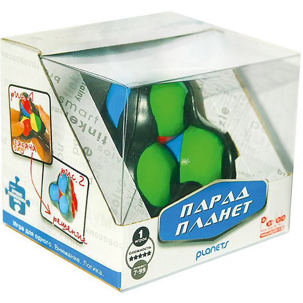 Головоломка Recent Toys Парад ПланетГоловоломки - лабиринты<br>Характеристики:<br><br>• возраст: от 7 лет;<br>• сложность игры: средний уровень;<br>• материал: пластик;<br>• количество игроков: 1;<br>• время игры: 30 мин.;<br>• вес упаковки: 310 г.;<br>• диаметр игрушки: 8 см;<br>• тип упаковки: картонная коробка;<br>• размер упаковки: 20х20х10 см.<br><br>Механическая головоломка, придуманная знаменитым изобретателем головоломок Oskar van Deventer. <br><br>Всего в игре 4 шарика, у каждого из которых есть несколько цветных «регионов». На их поверхности расположены выемки-кратеры, которые управляют притяжением. Кратер может заблокировать орбиту соседней планеты и тогда парад планет не состоится. <br><br>Цель игры - собрать одинаковые цвета на каждой из четырех сторон игрушки.       <br><br>Головоломку «Парад планет», Recent Toys можно приобрести в нашем интернет-магазине.<br><br>Ширина мм: 105<br>Глубина мм: 130<br>Высота мм: 110<br>Вес г: 330<br>Возраст от месяцев: 84<br>Возраст до месяцев: 2147483647<br>Пол: Унисекс<br>Возраст: Детский<br>SKU: 7029017