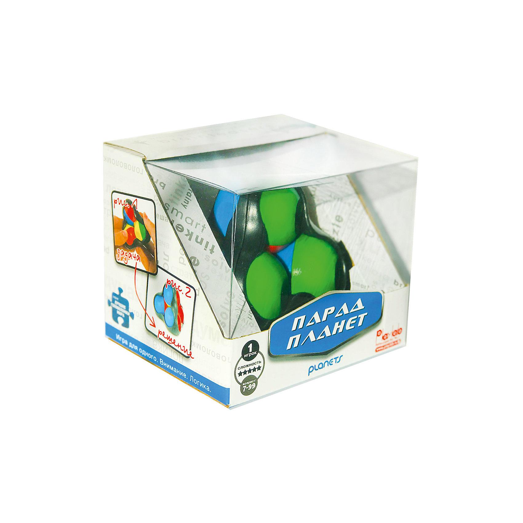Головоломка Recent Toys Парад ПланетОбъёмные головоломки<br>Характеристики:<br><br>• возраст: от 7 лет;<br>• сложность игры: средний уровень;<br>• материал: пластик;<br>• количество игроков: 1;<br>• время игры: 30 мин.;<br>• вес упаковки: 310 г.;<br>• диаметр игрушки: 8 см;<br>• тип упаковки: картонная коробка;<br>• размер упаковки: 20х20х10 см.<br><br>Механическая головоломка, придуманная знаменитым изобретателем головоломок Oskar van Deventer. <br><br>Всего в игре 4 шарика, у каждого из которых есть несколько цветных «регионов». На их поверхности расположены выемки-кратеры, которые управляют притяжением. Кратер может заблокировать орбиту соседней планеты и тогда парад планет не состоится. <br><br>Цель игры - собрать одинаковые цвета на каждой из четырех сторон игрушки.       <br><br>Головоломку «Парад планет», Recent Toys можно приобрести в нашем интернет-магазине.<br><br>Ширина мм: 105<br>Глубина мм: 130<br>Высота мм: 110<br>Вес г: 330<br>Возраст от месяцев: 84<br>Возраст до месяцев: 2147483647<br>Пол: Унисекс<br>Возраст: Детский<br>SKU: 7029017