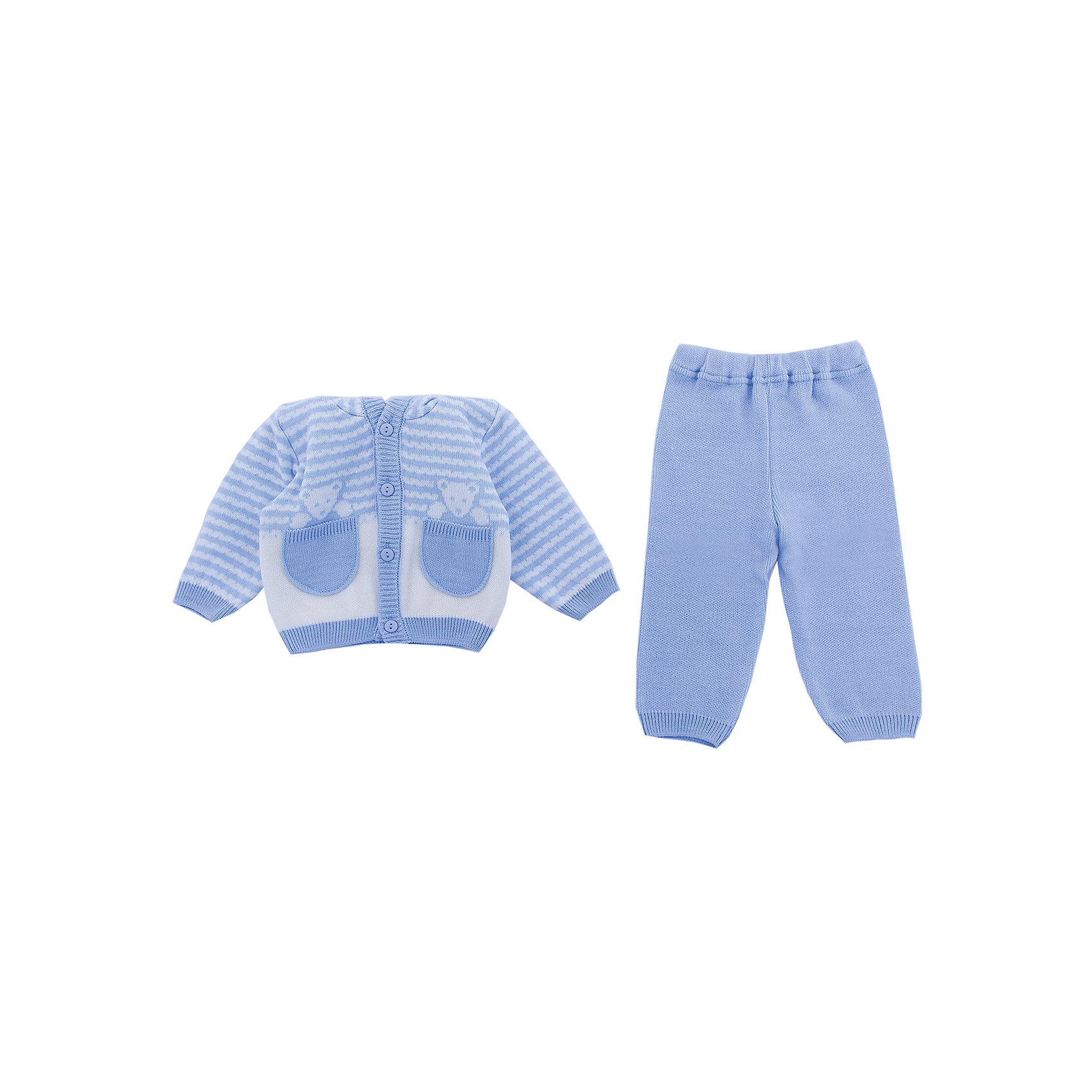 Комплект  Мишка в кармане Уси-Пуси для мальчикаКомплекты<br>Характеристики товара:<br><br>• цвет: голубой;<br>• ткань: вязаная;<br>• пол: мальчик;<br>• состав ткани: 50% шерсть, 50% пан;<br>• вид застежки: пуговицы;<br>• особенности модели: вязаная, с рисунком;<br>• сезон: демисезон;<br>• страна бренда: Россия;<br>• страна изготовитель: Россия.<br> <br>Комплект детский вязанный (брючки, кофточка) «Мишка в кармане» выполнен из мягкой пряжи. Комплек с открытыми ручками и ножками,с капюшоном, застежка пуговицы, рисунок в полоску.<br><br>Два карманчика, из которых выглядывают медвежатки, делают модель необычной. Детский комплект подойдет для любого времени года: его можно носить как летом, так и зимой.<br><br>Комплект детский вязанный «Мишка в кармане» Уси-Пуси для мальчика можно купить в нашем интернет-магазине.<br><br>Ширина мм: 157<br>Глубина мм: 13<br>Высота мм: 119<br>Вес г: 200<br>Цвет: голубой<br>Возраст от месяцев: 12<br>Возраст до месяцев: 18<br>Пол: Мужской<br>Возраст: Детский<br>Размер: 80/86,62/68,68/74,74/80<br>SKU: 7029575