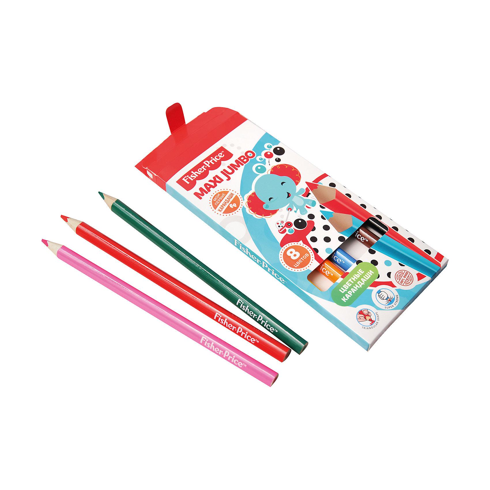 Цветные карандаши Jumbo Fisher Price, 8 цветовПисьменные принадлежности<br>Характеристики:<br><br>• возраст: от 3 лет<br>• в наборе: 8 карандашей<br>• цвета: желтый, оранжевый, розовый, красный, синий, зеленый, коричневый, черный<br>• материал корпуса: древесина<br>• длина: 21 см.<br>• диаметр: 6 мм.<br>• упаковка: картонная коробка<br>• размер упаковки: 21х7,7х1,2 см.<br>• вес: 80 гр.<br><br>Цветные карандаши Maxi Jumbo Fisher Price с утолщенным деревянным корпусом, специально разработанные для маленьких детей. Карандаши имеют эргономичную, трехгранную форму корпуса, наиболее естественную для меленьких детей. Мягкий ударопрочный грифель не ломается при падении и легко затачивается любым видом точилки.<br><br>Цветные карандаши Maxi Jumbo Fisher Price помогут развить юным художникам творческие способности, цветовое восприятие, фантазию и воображение с самого раннего возраста.<br><br>Цветные карандаши Jumbo Fisher Price, 8 цветов можно купить в нашем интернет-магазине.<br><br>Ширина мм: 210<br>Глубина мм: 77<br>Высота мм: 12<br>Вес г: 80<br>Возраст от месяцев: 0<br>Возраст до месяцев: 72<br>Пол: Унисекс<br>Возраст: Детский<br>SKU: 7029899