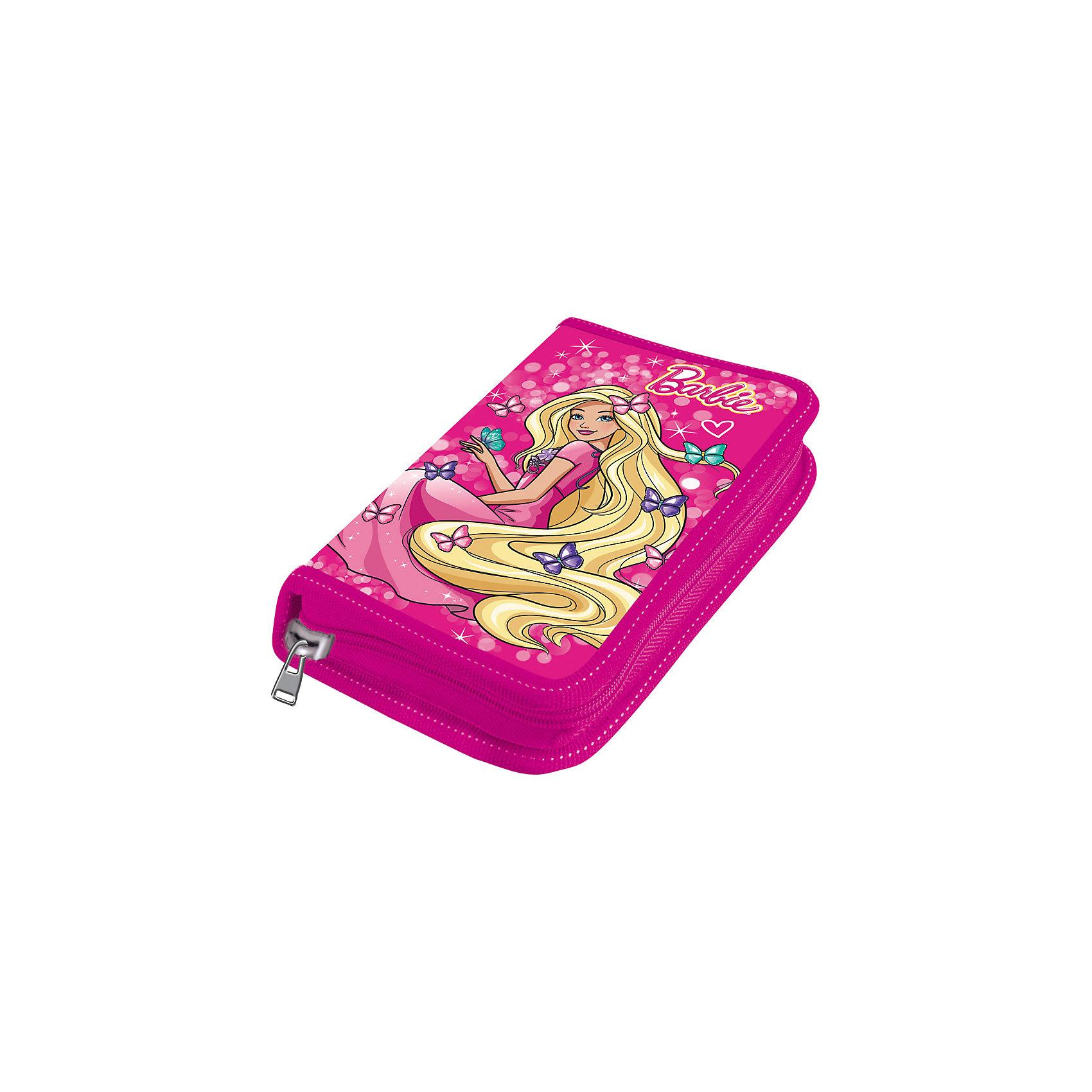 Пенал средний Mattel Barbie пустойПеналы без наполнения<br>Идеальный пенал для младших школьников. Пенал изготовлен из картона с полипропиленовым покрытием. Кроме того внутренняя часть пенала так же покрыта полипропиленовой плёнкой. А это значит, что следы от гелевых и шариковых ручек. фломастеров, карандашей и других письменных принадлежностей легко смываются с поверхности с помощью влажной ткани. А водонепроницаемое покрытие сохранит пенал в отличной форме надолго. В пенал помещаются даже заточенные карандаши, т.к. он имеет увеличенную длину. Ламинированное покрытие внешней части пенала с эффектами объёмного фольгированного тиснения.<br><br>Ширина мм: 195<br>Глубина мм: 110<br>Высота мм: 27<br>Вес г: 86<br>Возраст от месяцев: 72<br>Возраст до месяцев: 108<br>Пол: Женский<br>Возраст: Детский<br>SKU: 7029915