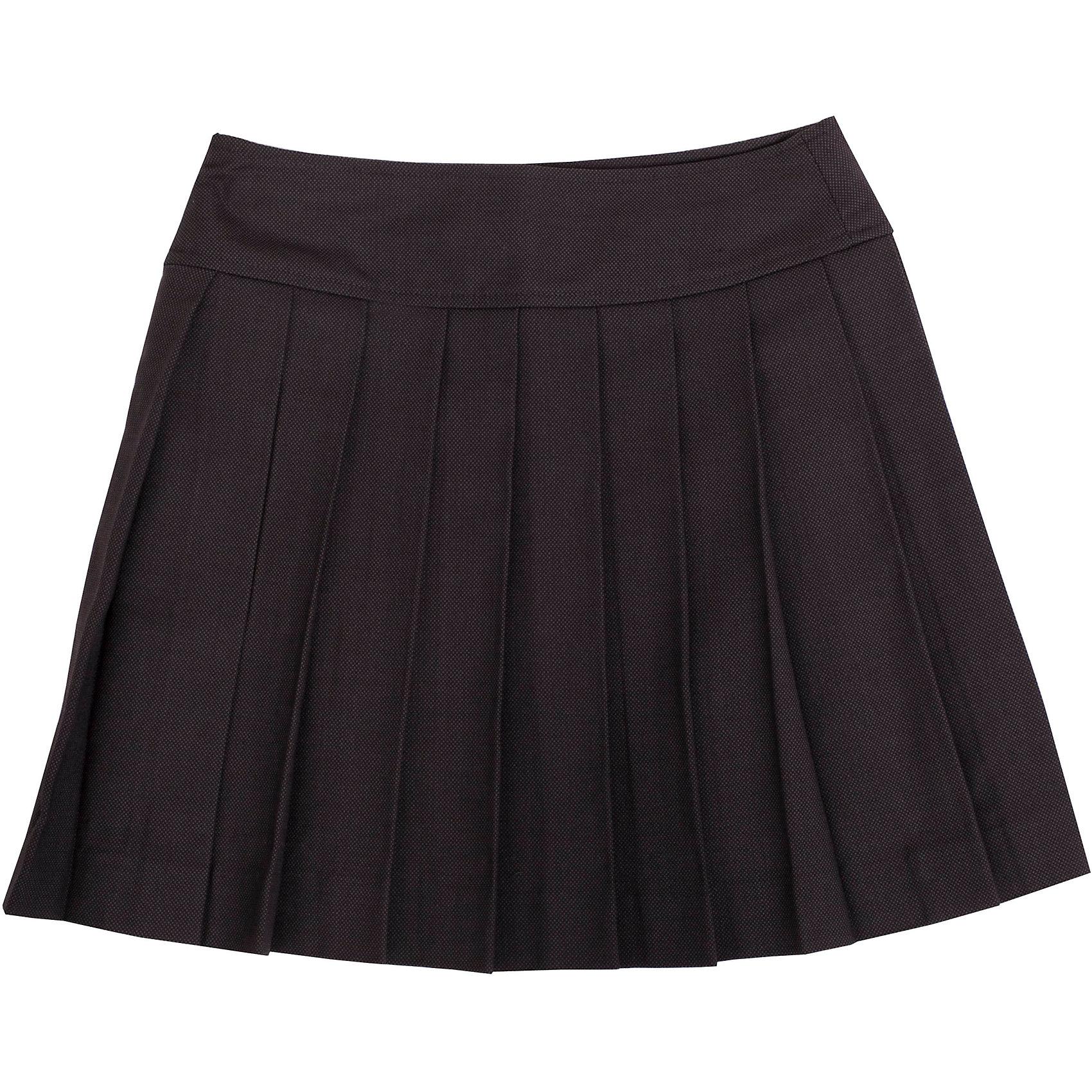 Юбка Gulliver для девочкиЮбки<br>Какие юбки для девочек школьные правила позволяют считать лучшими в гардеробе ученицы? Прямые, трапециевидные, баллонообразные... При всем богатстве выбора, строгая и элегантная классика, юбка в складку, всегда выглядит изящно и стильно. Эта модель вне времени и вне моды! Именно такими и должны быть юбки для школы - красивыми и удобными, прекрасно сочетающимися с любым верхом. Хороший состав и качество ткани обеспечивает юбке достойный  внешний вид, долговечность и неприхотливость в уходе. Асимметричная застежка придает модели индивидуальные черты, делая ее интересной и выразительной.<br>Состав:<br>тк. верха: 65% полиэстер, 23% вискоза, 10% шерсть, 2% эластан подкл.: 100% полиэстер<br><br>Ширина мм: 207<br>Глубина мм: 10<br>Высота мм: 189<br>Вес г: 183<br>Цвет: серый<br>Возраст от месяцев: 108<br>Возраст до месяцев: 120<br>Пол: Женский<br>Возраст: Детский<br>Размер: 140,122,128,134<br>SKU: 7030046