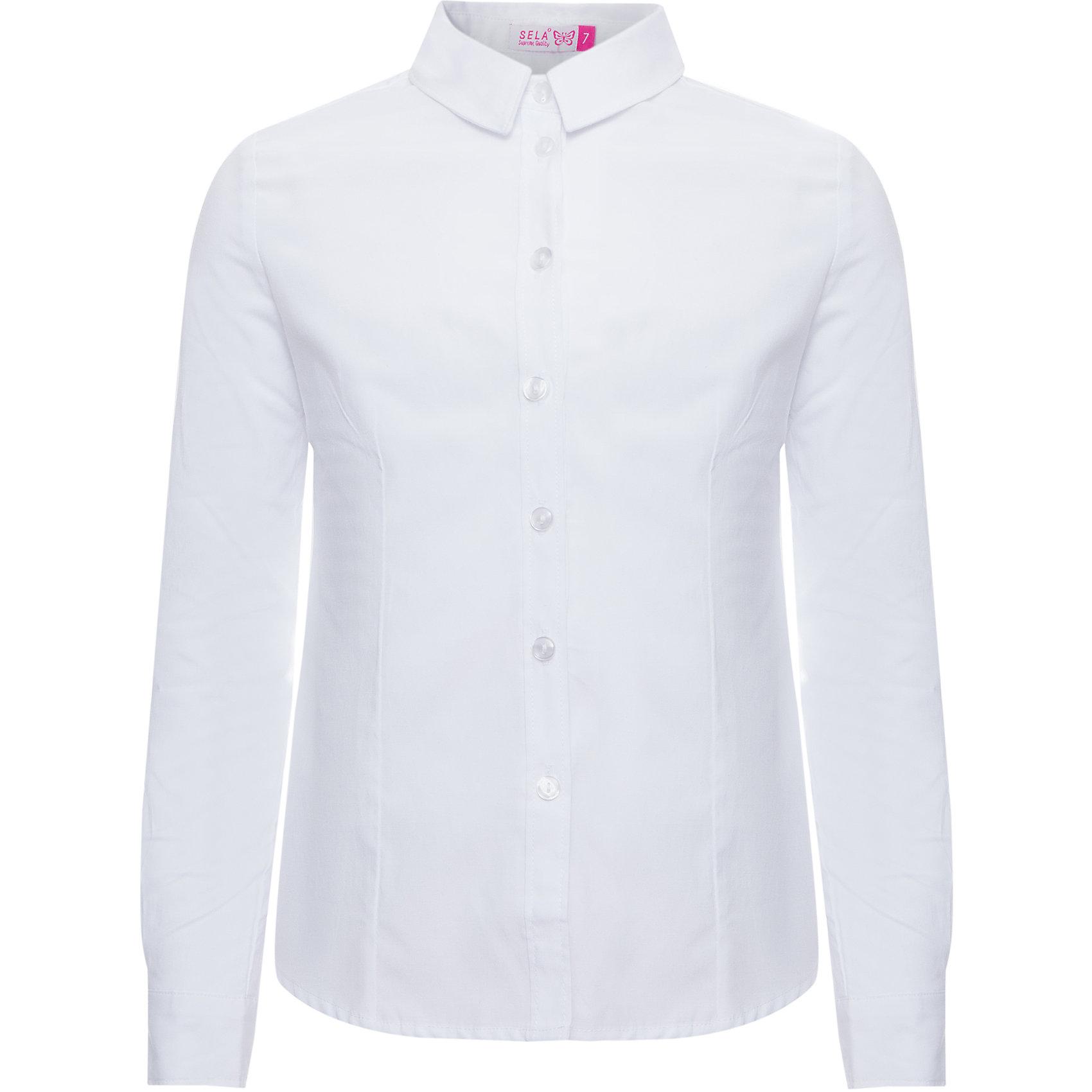 Блуза SELA для девочкиБлузки и рубашки<br>Характеристики товара:<br><br>• цвет: белый<br>• состав ткани: 55% хлопок, 45% полиэстер<br>• сезон: демисезон<br>• особенности модели: школьная, нарядная<br>• застежка: пуговицы<br>• длинные рукава<br>• страна бренда: Россия<br>• страна производства: Китай<br><br>Блузка для девочки отличается классическим дизайном. Белая блуза для девочки - базовая вещь для гардероба. Такая блуза для ребенка сшита из легкого хлопкового материала. Модели от Sela стильные и удобные, как и эта детская рубашка с длинным рукавом. <br><br>Блузу для девочки Sela (Села) можно купить в нашем интернет-магазине.<br><br>Ширина мм: 186<br>Глубина мм: 87<br>Высота мм: 198<br>Вес г: 197<br>Цвет: белый<br>Возраст от месяцев: 108<br>Возраст до месяцев: 120<br>Пол: Женский<br>Возраст: Детский<br>Размер: 140,164,122,128,134,146,152<br>SKU: 7032248