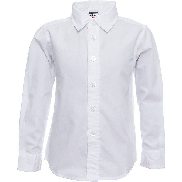 Рубашка SELA для мальчикаБлузки и рубашки<br>Характеристики товара:<br><br>• цвет: белый<br>• состав ткани: 100% хлопок<br>• сезон: демисезон<br>• особенности модели: школьная, нарядная<br>• застежка: пуговицы<br>• длинные рукава<br>• страна бренда: Россия<br>• страна производства: Индия<br><br>Белая рубашка для мальчика отличается классическим дизайном. Такая рубашка для мальчика - базовая вещь для гардероба. Эта рубашка для ребенка сшита из дышащего хлопкового материала. Модели от Sela стильные и удобные, как и эта детская рубашка с длинным рукавом. <br><br>Рубашку для мальчика Sela (Села) можно купить в нашем интернет-магазине.<br><br>Ширина мм: 174<br>Глубина мм: 10<br>Высота мм: 169<br>Вес г: 157<br>Цвет: белый<br>Возраст от месяцев: 18<br>Возраст до месяцев: 24<br>Пол: Мужской<br>Возраст: Детский<br>Размер: 104,98,92,116,110<br>SKU: 7032317